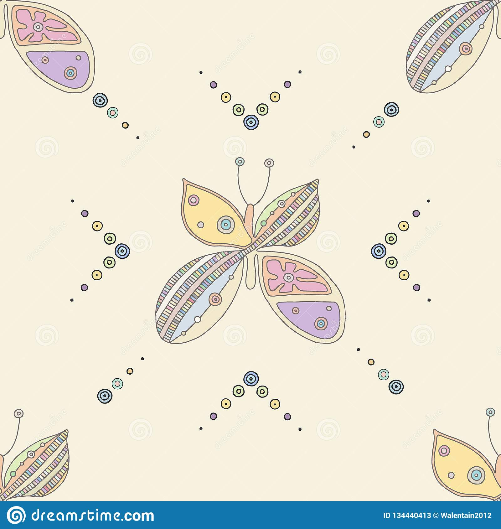 Vector hand drawn colorful seamless pattern, illustration of butterfly with decorative geometrical elements, lines, dots. Line