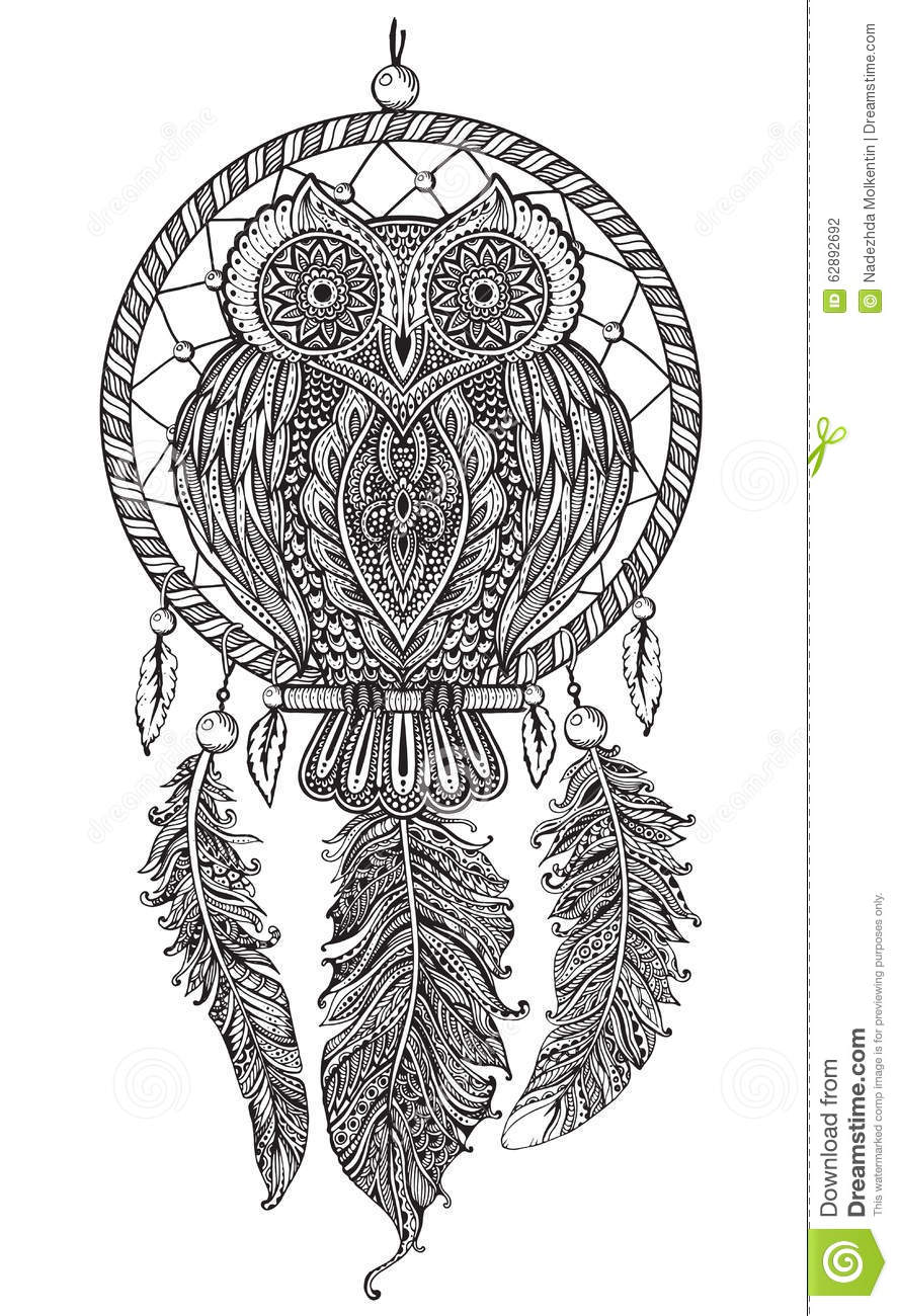Vector Hand Drawn Detailed Ornate Owl With Dream Catcher