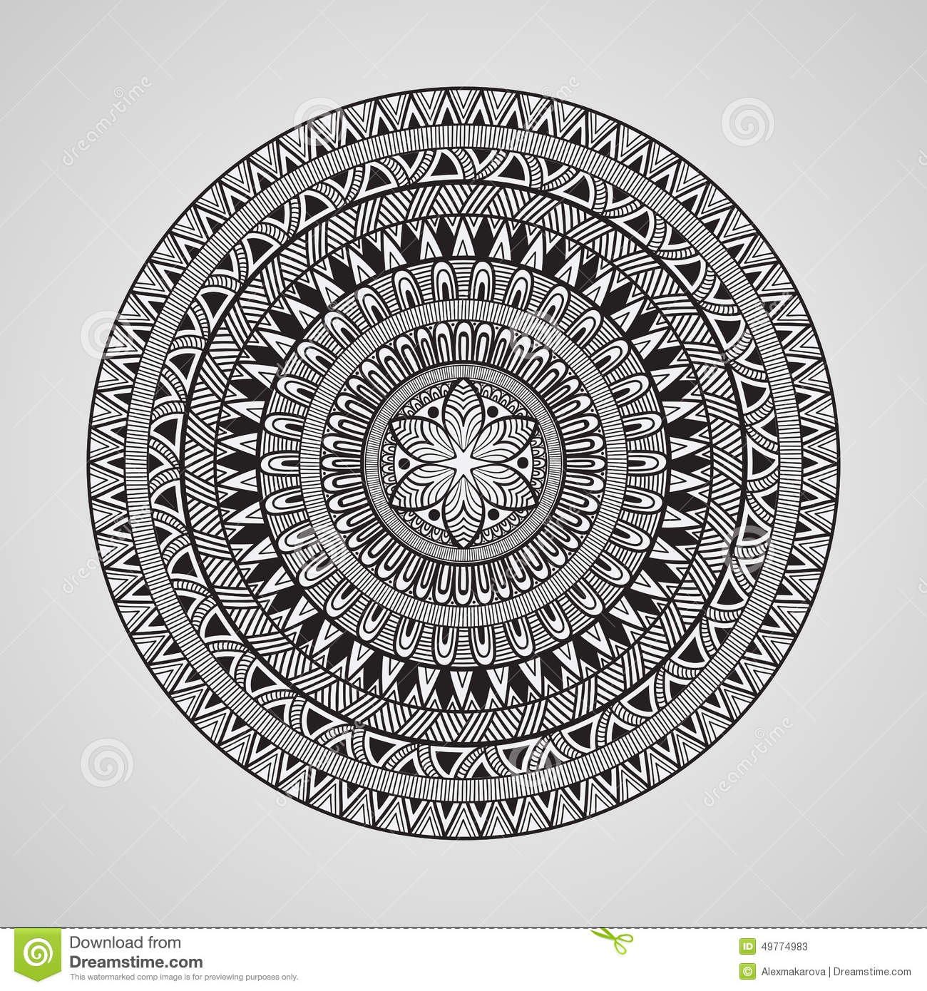 Free ornamental mandala vector download free vector art stock - Vector Hand Drawn Doodle Mandala Stock Vector Image