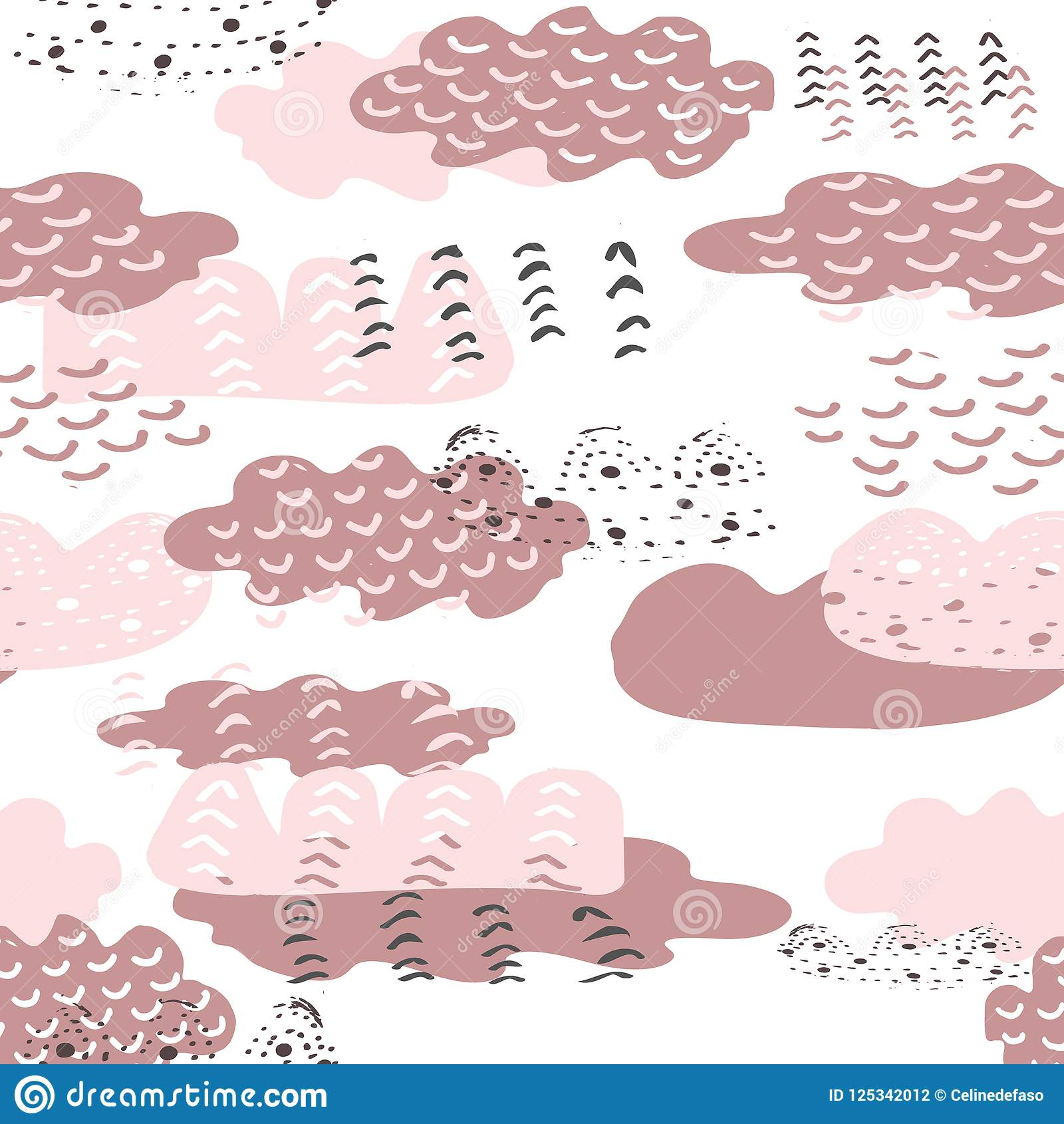 Vector hand drawn doodle pink clouds seamless repeat pattern background. Perfect for kids apparel, fabric, home decor and furnishi