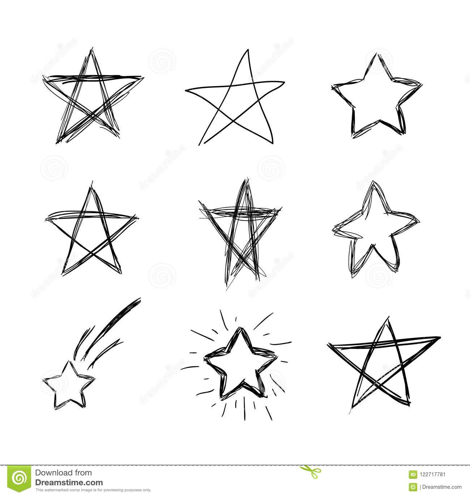 Vector hand drawn doodle stars scribble drawings black
