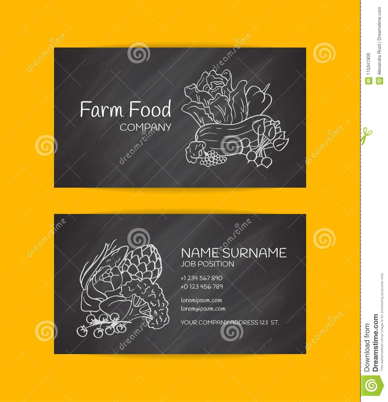 Vector hand drawn doodle vegetables icon business card template for vector hand drawn doodle vegetables icon business card template for farm market or vegan organic food cheaphphosting Choice Image