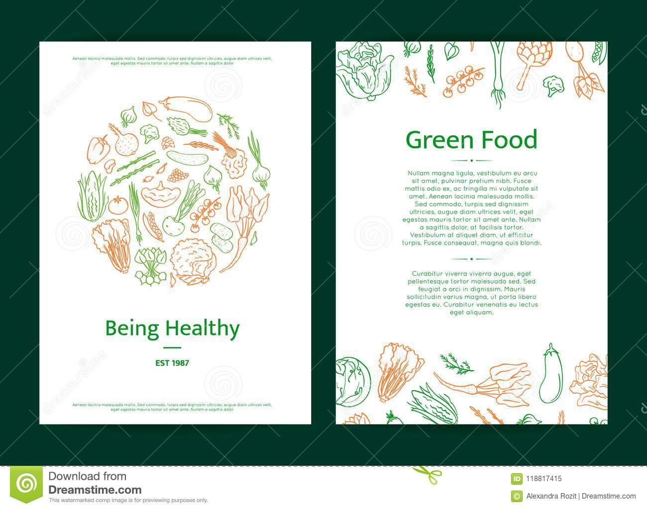 Vector Hand Drawn Doodle Vegetables Icons Card Or Brochure Template