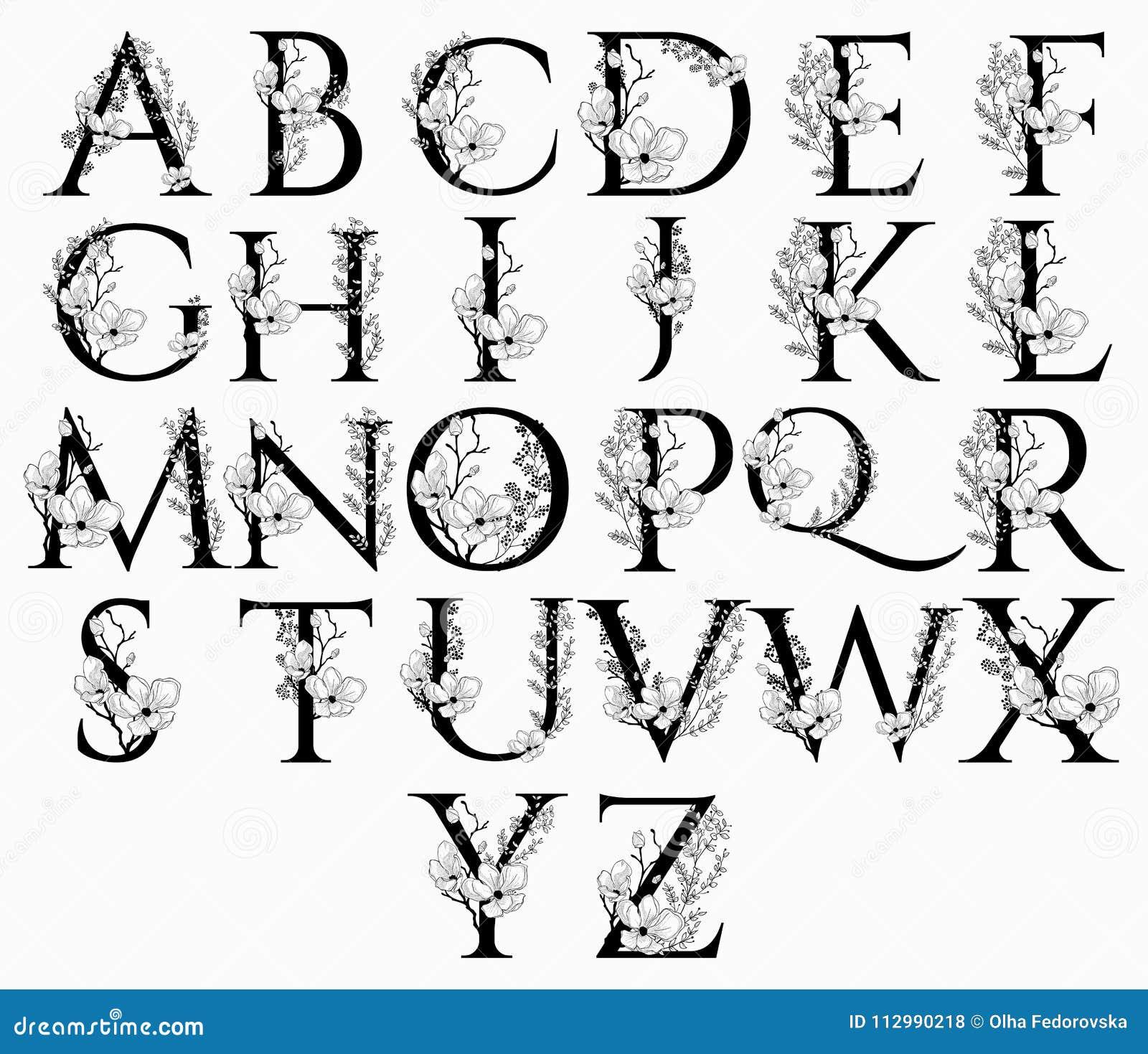 Vector Hand Drawn floral alphabet letters monograms