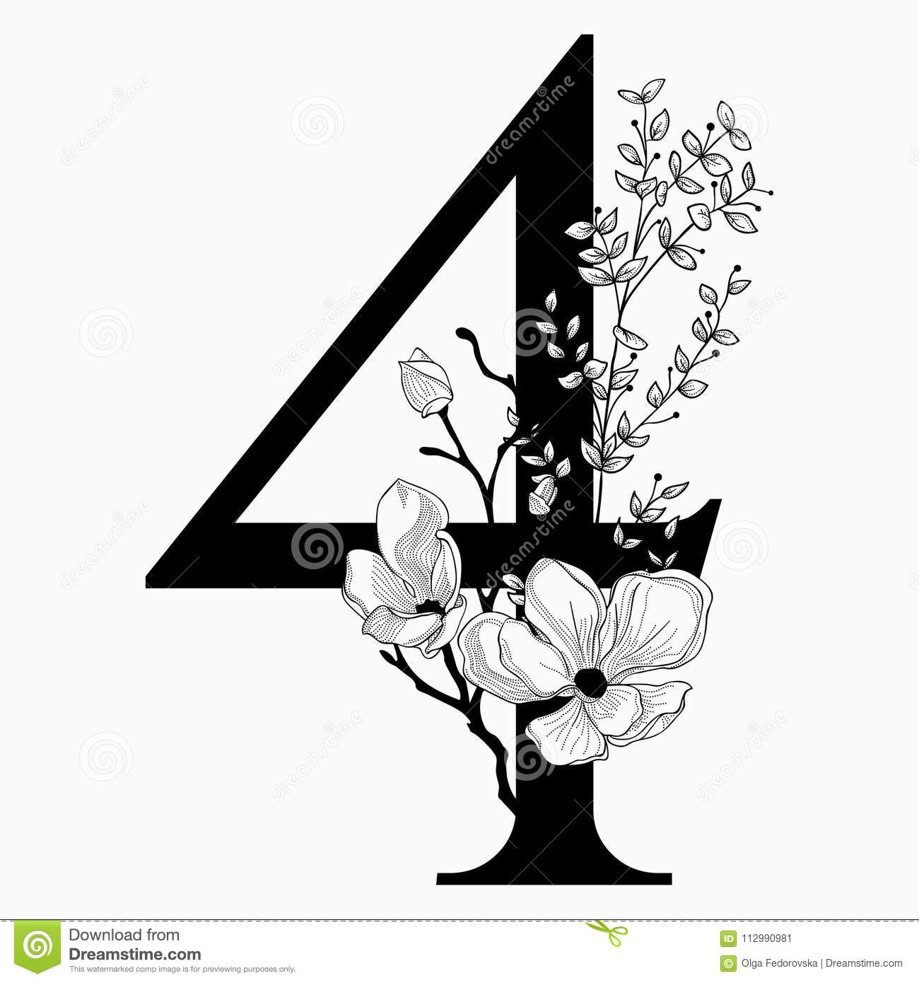 Vector Hand Drawn floral Number Four monogram and logo