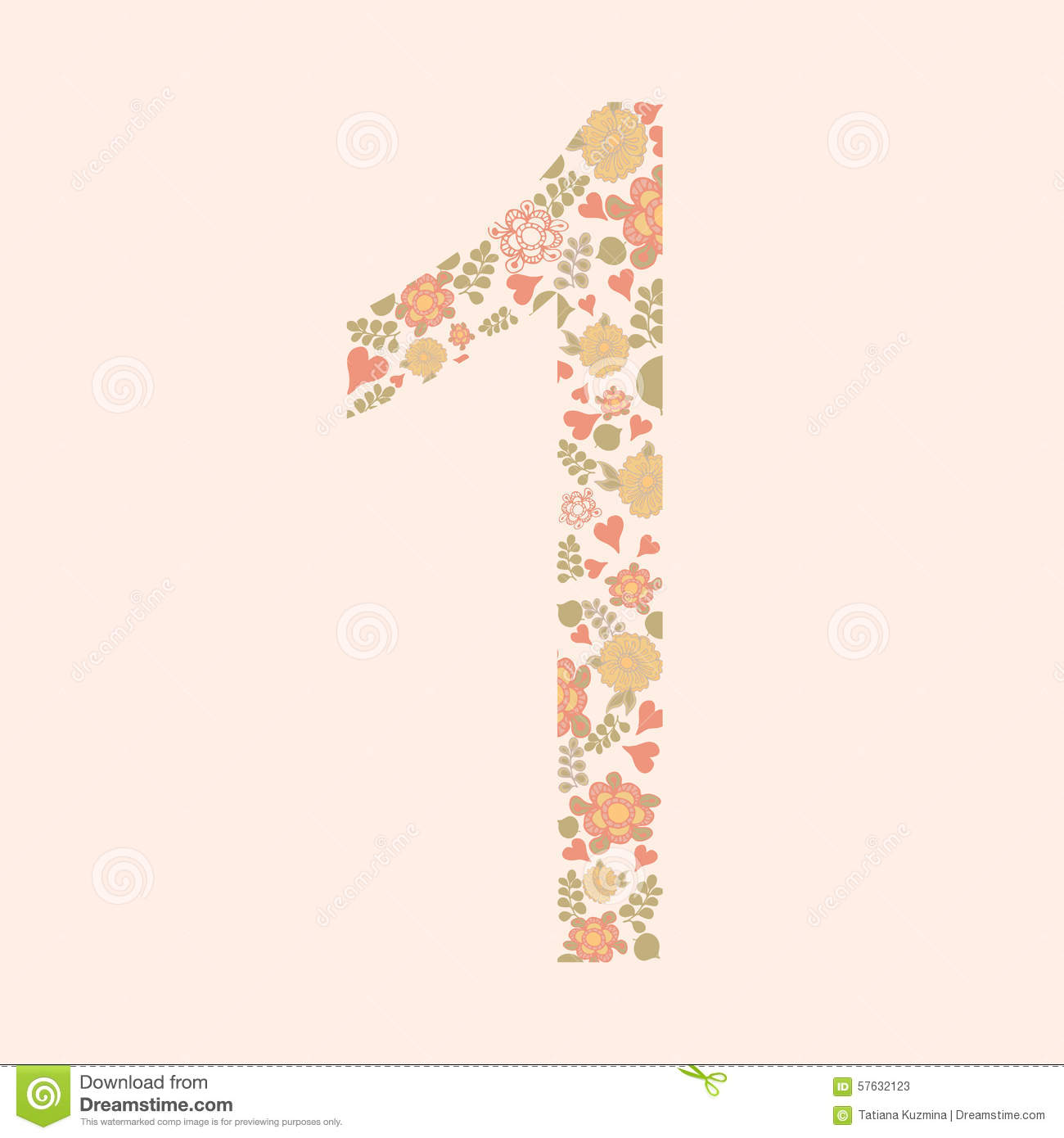 Vector Hand Drawn Floral Number One. Stock Illustration ...
