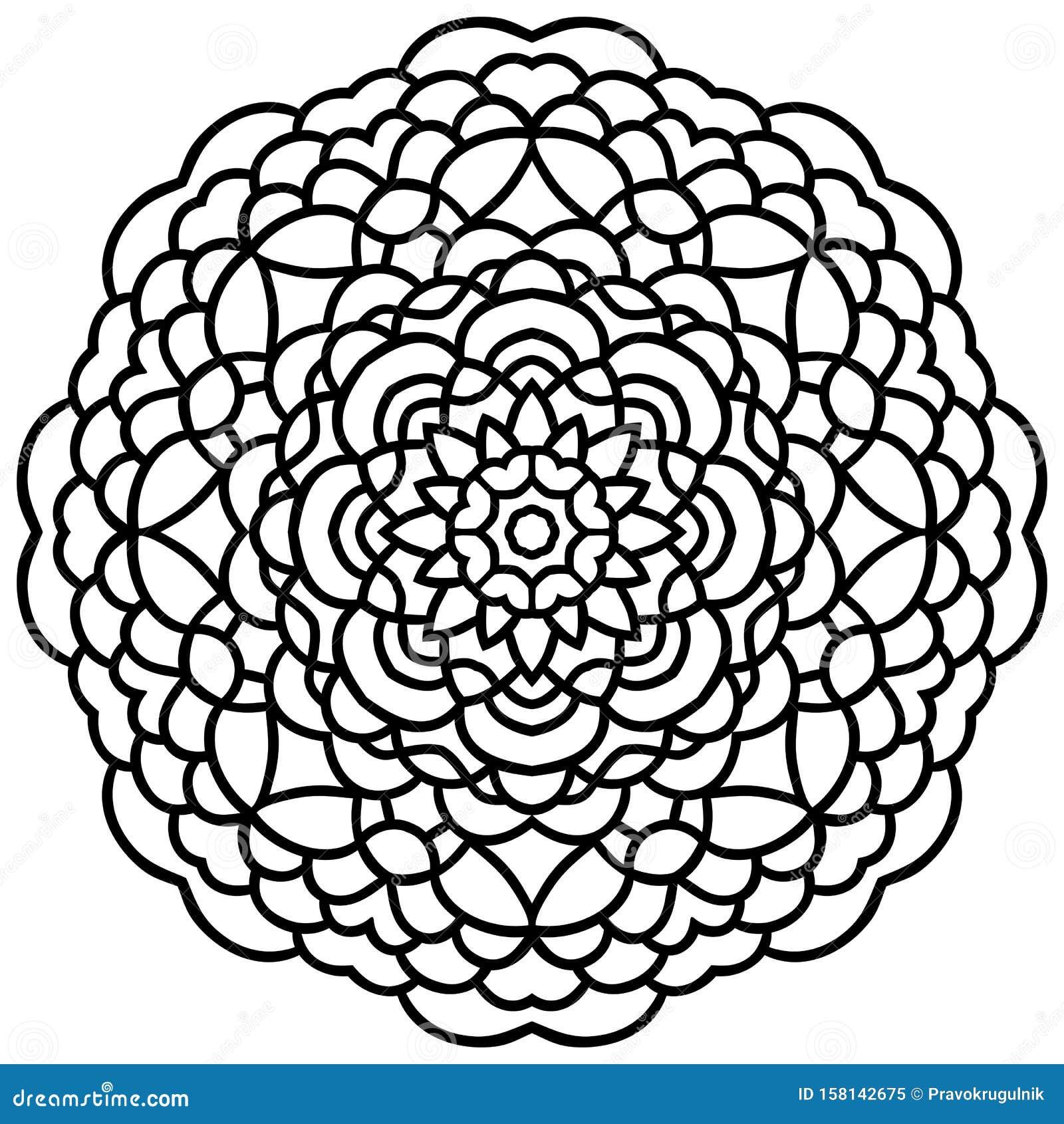 Vector hand drawn flower mandala black outline