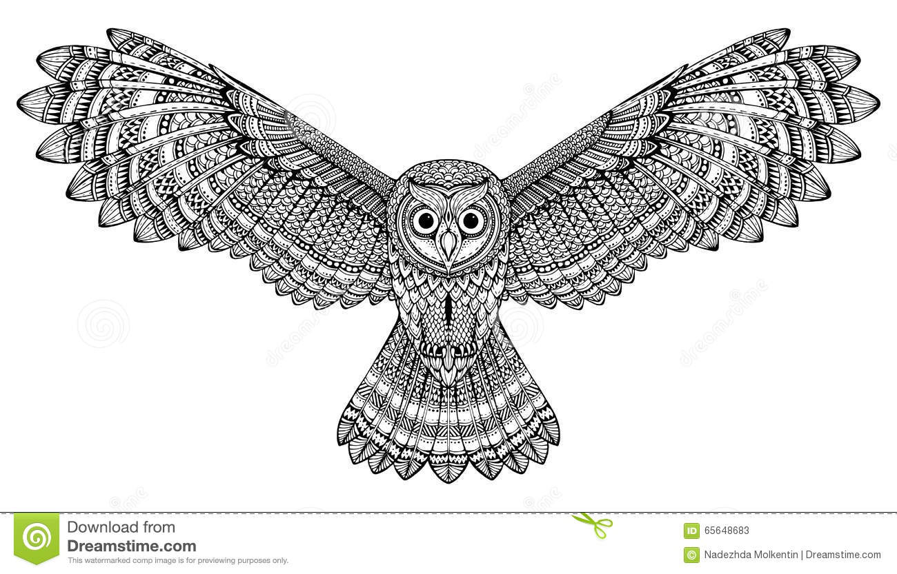 vector hand drawn flying owl black and white zentangle. Black Bedroom Furniture Sets. Home Design Ideas