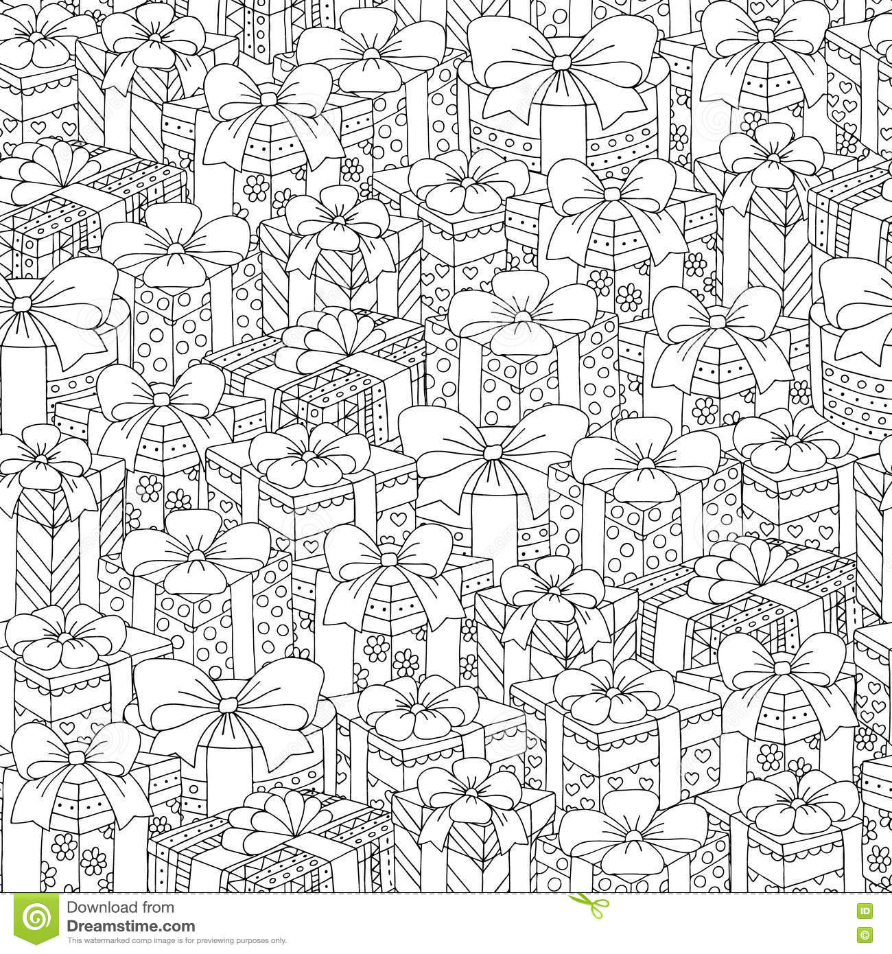 Vector Hand Drawn Gift Boxes Illustration For Adult Coloring Book ...