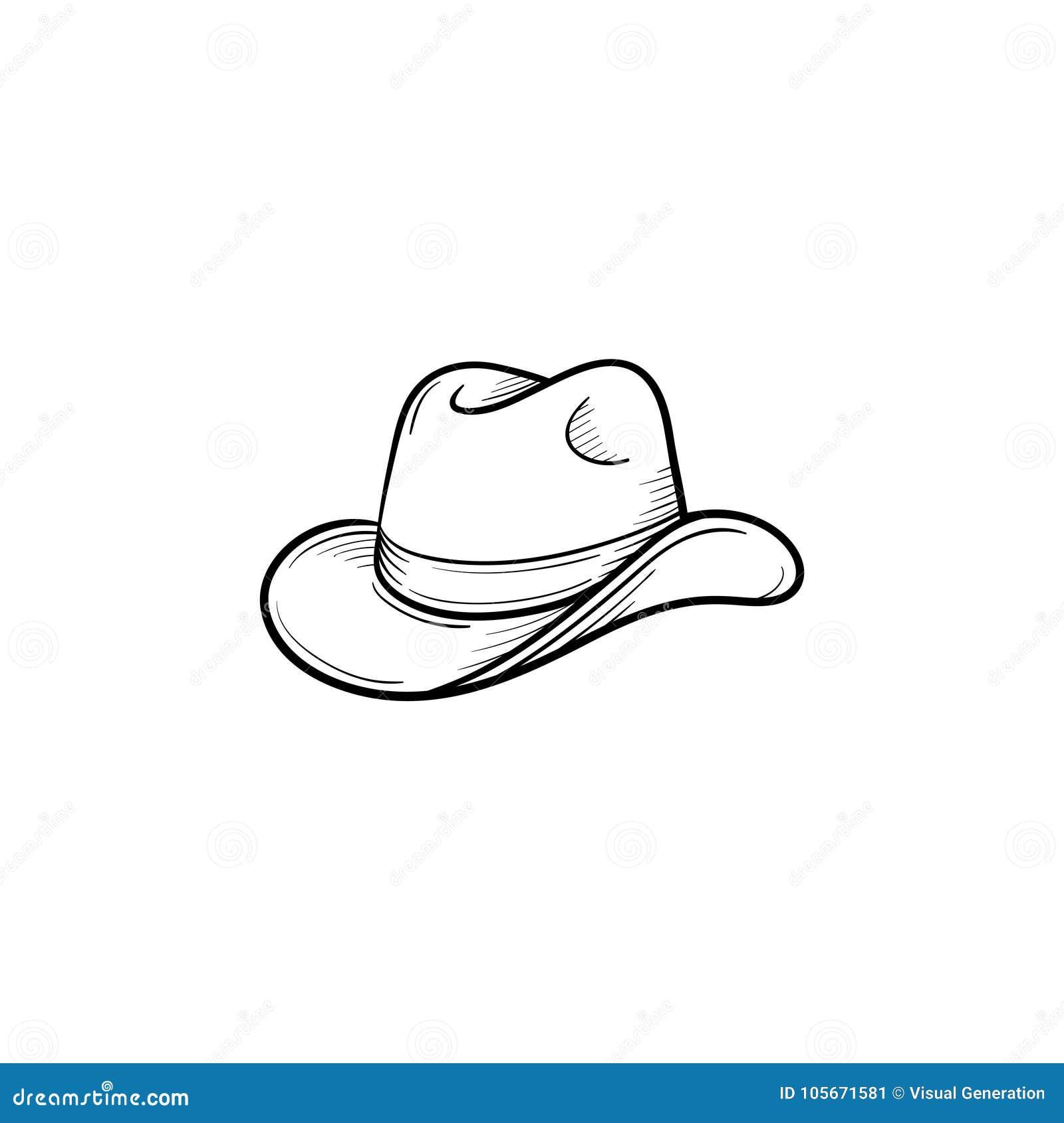 Western Cowboy Hat Hand Drawn Sketch Icon Stock Vector