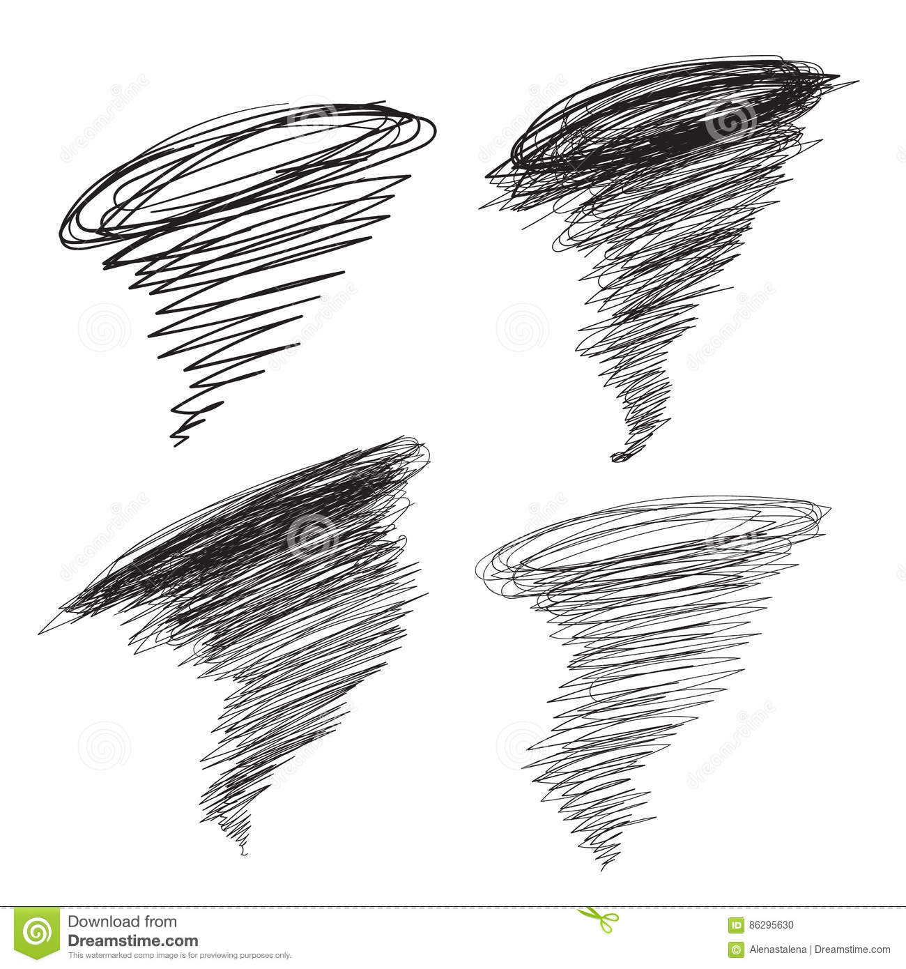 Vector hand-drawn hurricane illustrations set. Cyclone tornado for promotion, banners. Sketch typhoon in thick and thin
