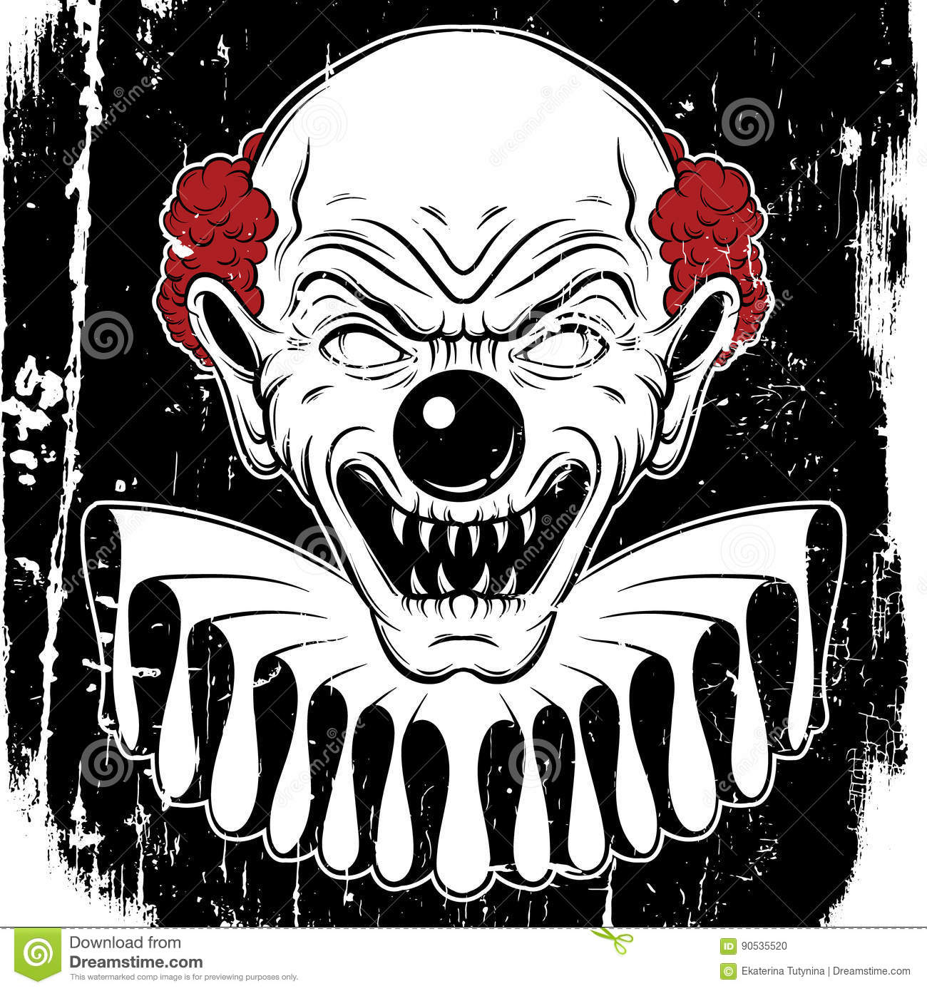 vector hand drawn illustration of angry clown stock vector