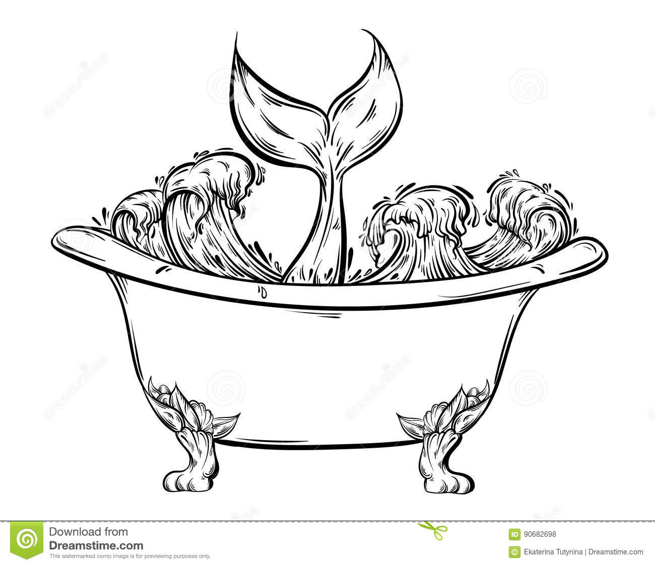 vector hand drawn illustration of bath with ocean waves and tale of
