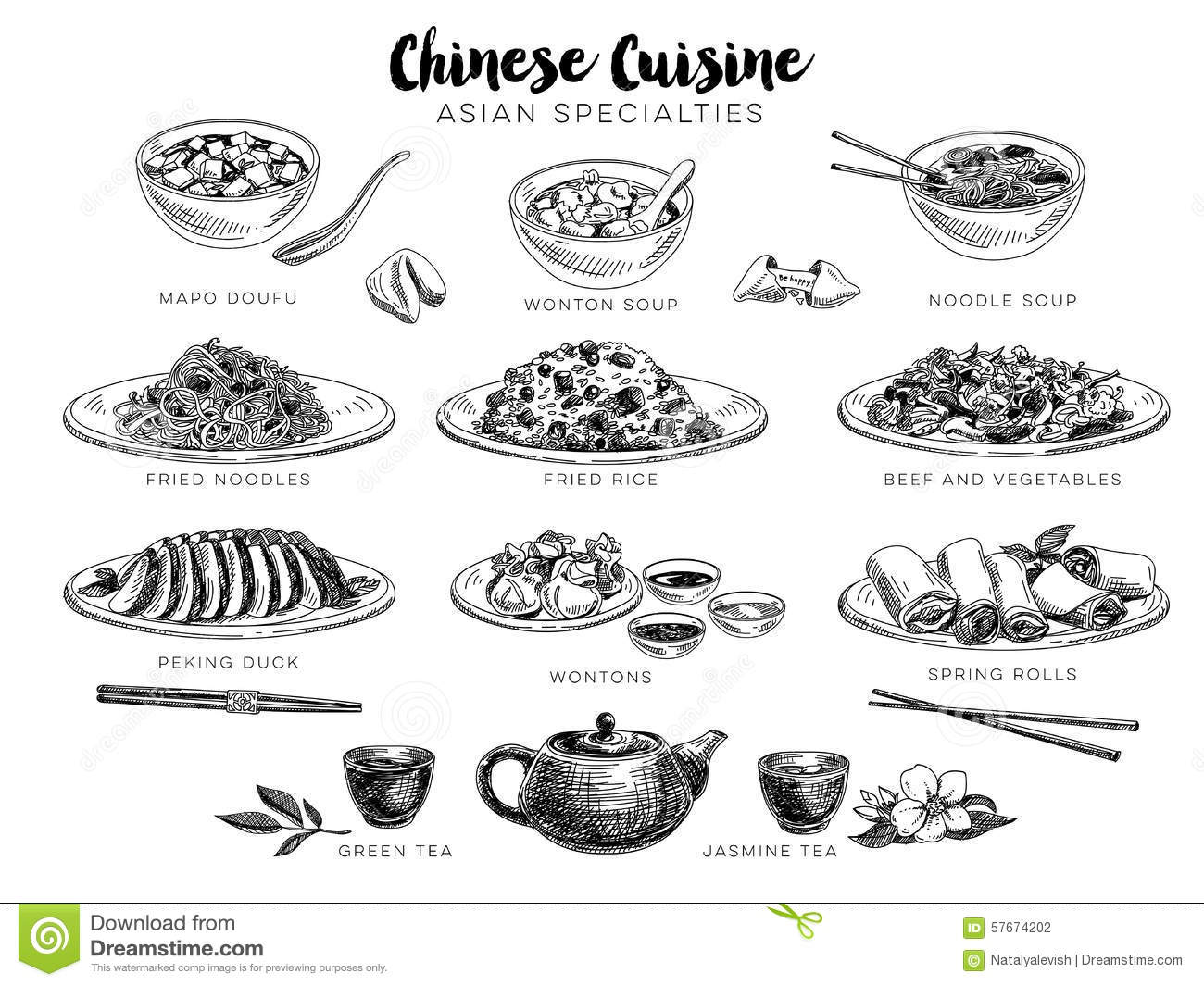 Chinese Food Drinks Images Vector