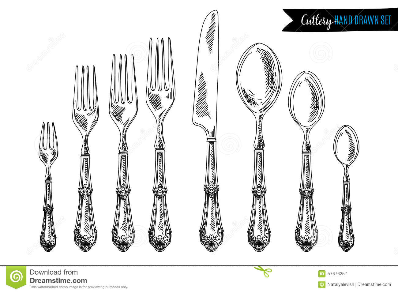 15 Kitchen Utensils Sketch : Vector Hand Drawn Illustration With Cutlery Set Stock Vector - Image ...