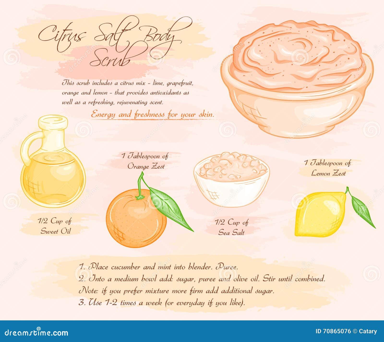 Vector hand drawn illustration of energy citrus salt body scrub recipe