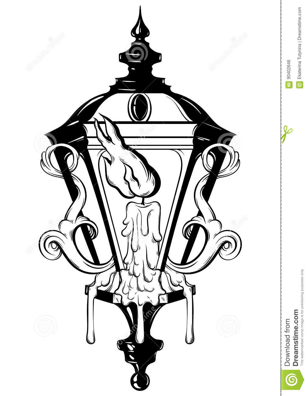Vector Hand Drawn Illustration Of Lantern With Melting Candle And ...
