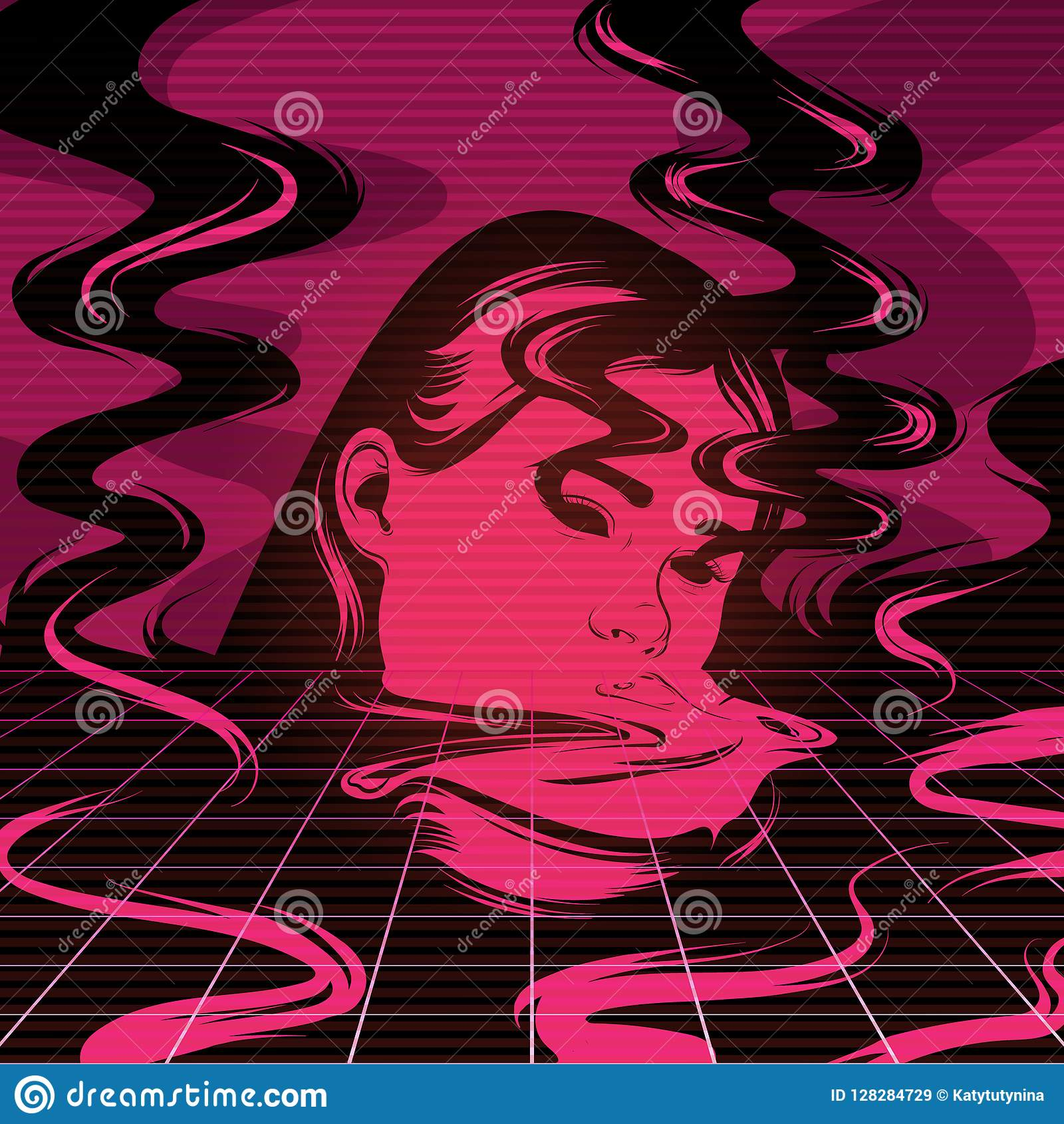 vector hand drawn illustration of melting girl with smoke stock