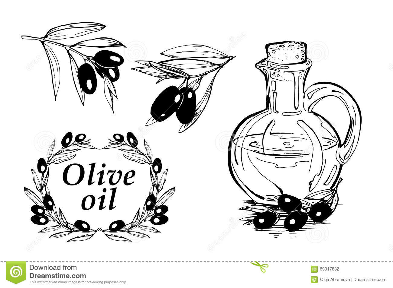Vector Hand Drawn Illustration With Olives And Bottle Of Olive Oil. Sketch Doodle Stock ...