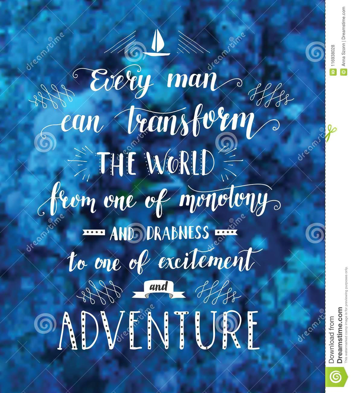 Vector hand drawn illustration for poster with hand-lettering quote. Underwater world.