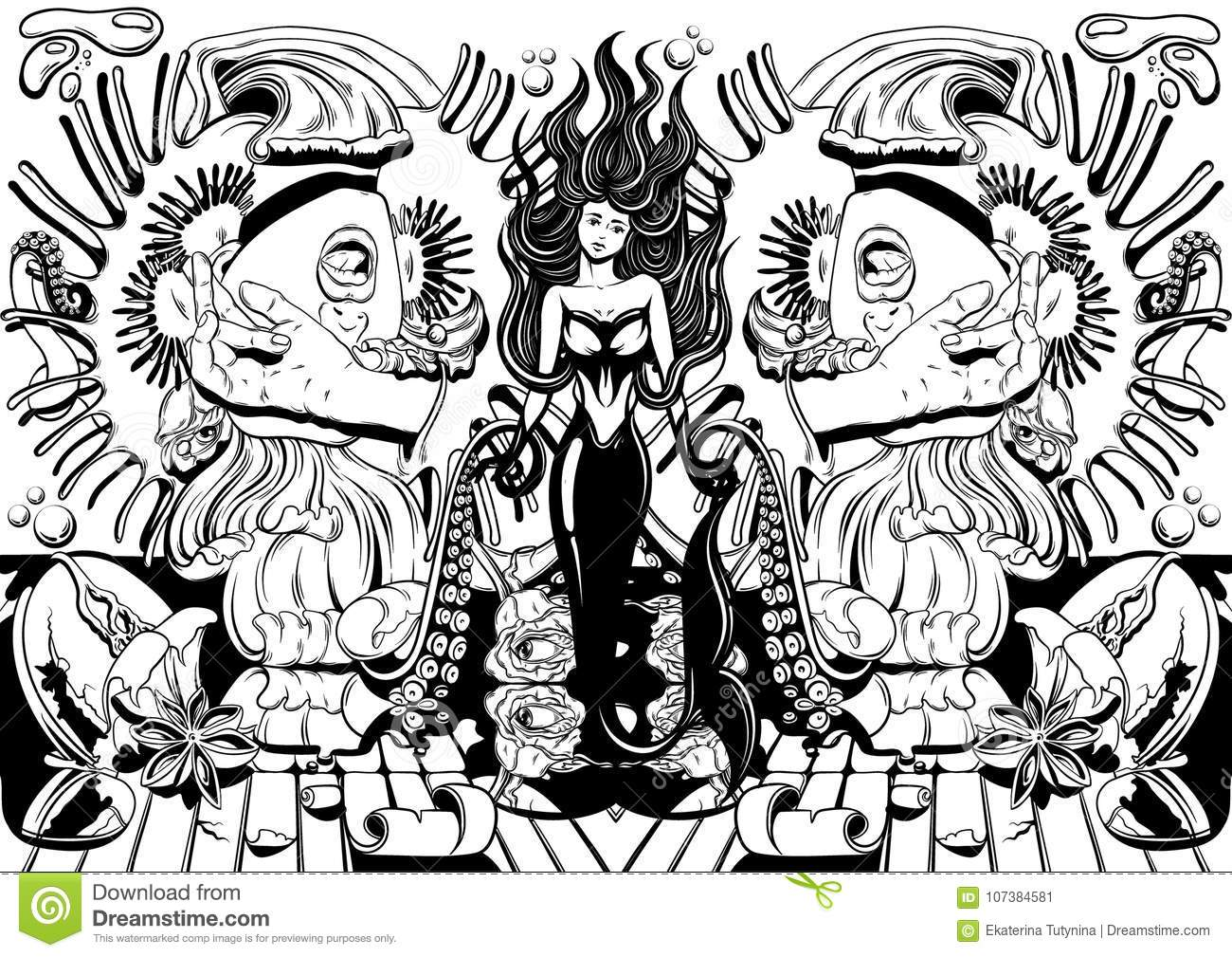 vector hand drawn illustration with screaming girl tentacles roses