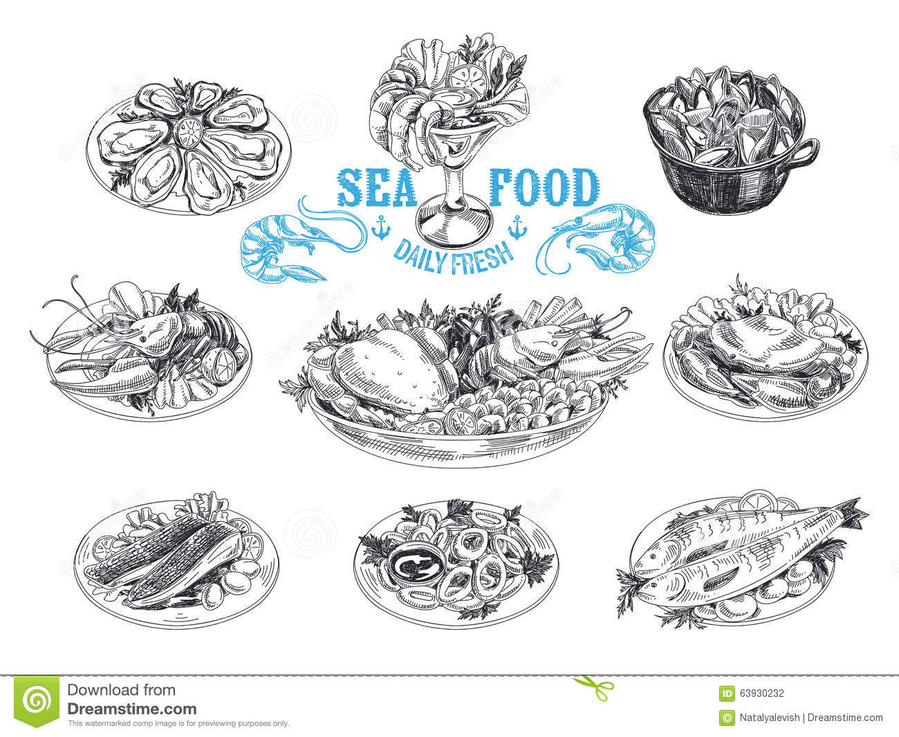 Vector Hand Drawn Illustration With Seafood Stock Vector