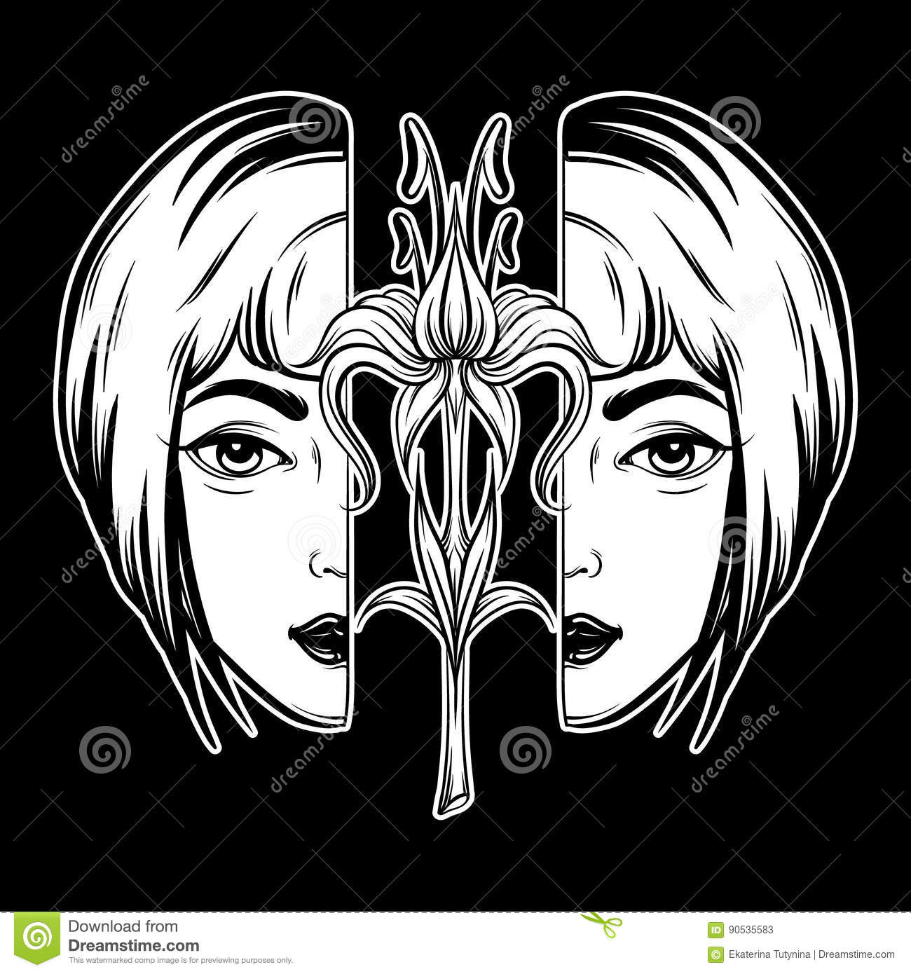 Vector Hand Drawn Illustration Of Two Parts Of Woman Head With Lily