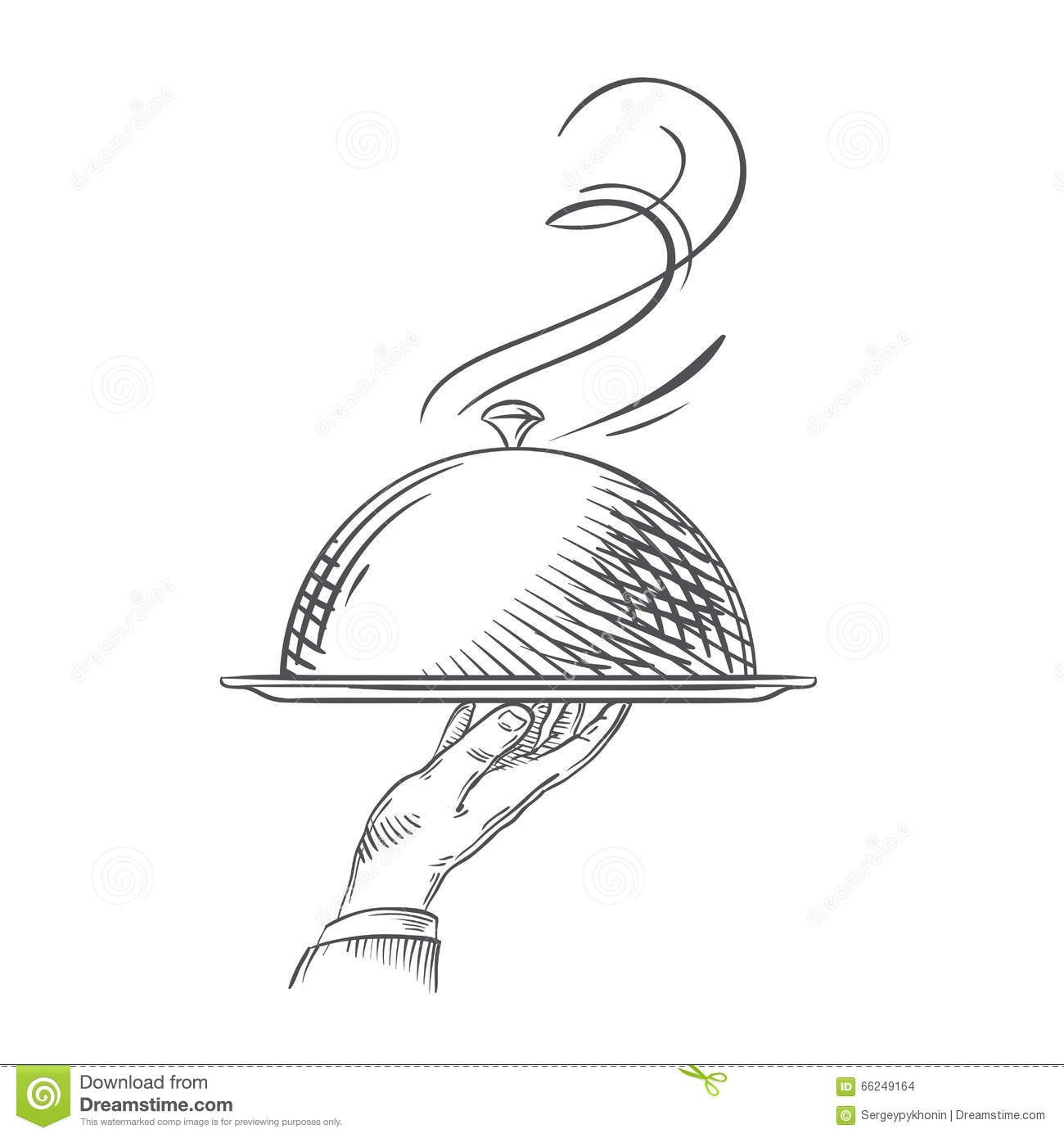 Vector Hand-drawn Illustration Of Waiter Hand Holding A ...