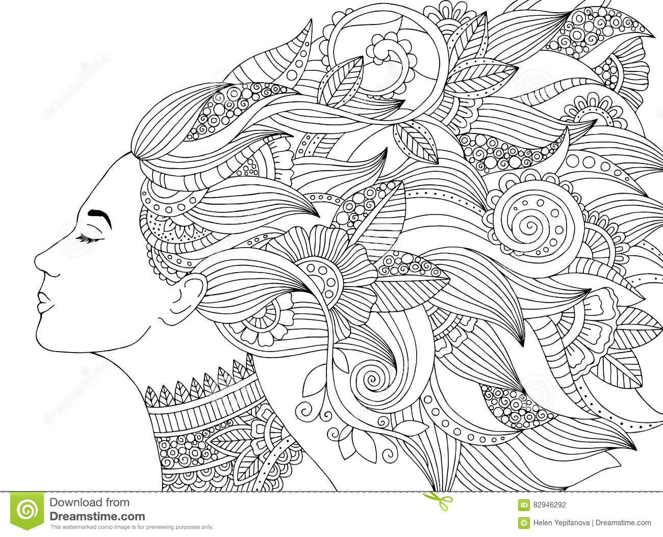 Vector Hand Drawn Illustration Woman With Floral Hair For Adult