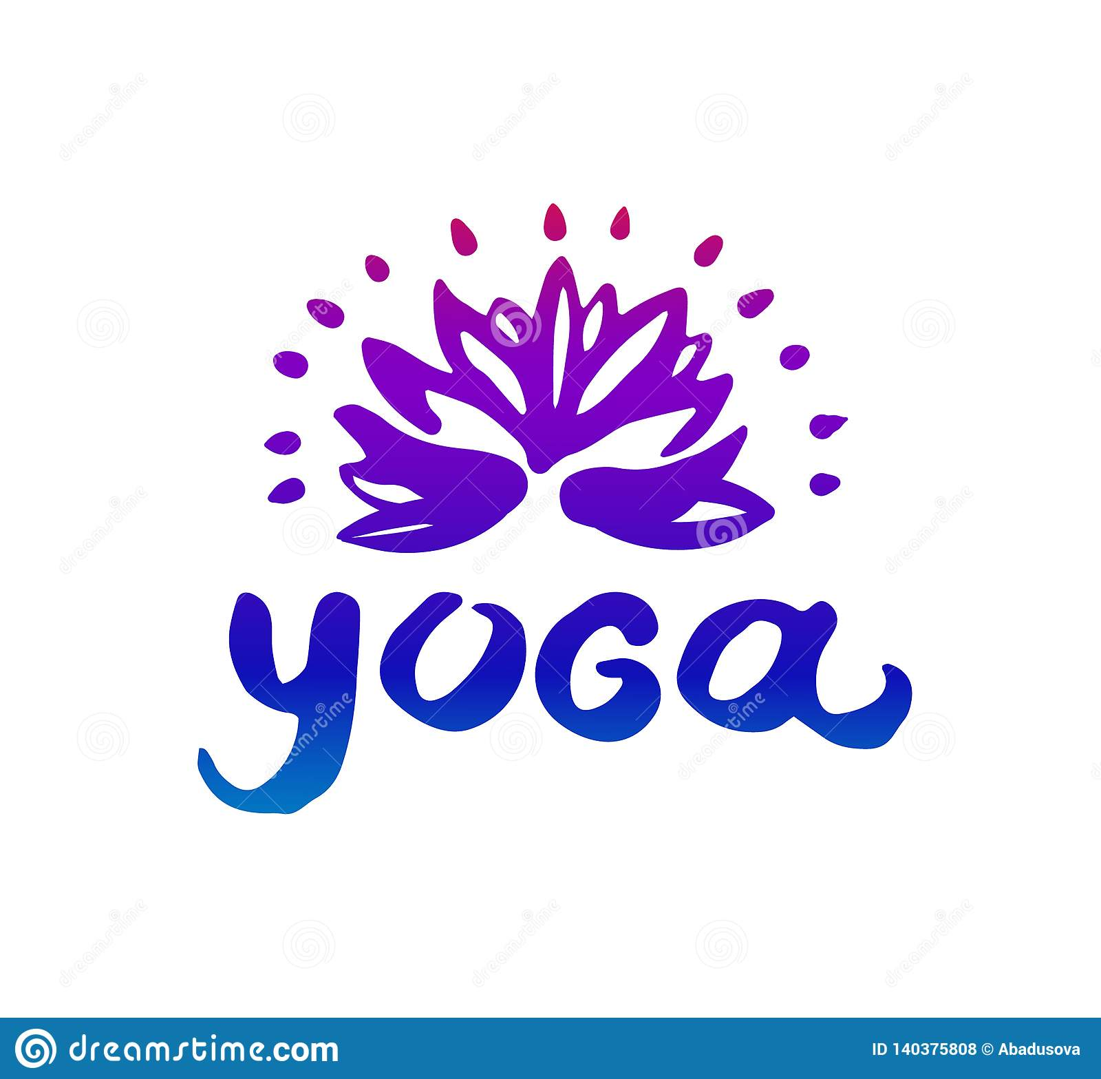 Vector hand drawn illustration of Yoga logo illustration on white background.