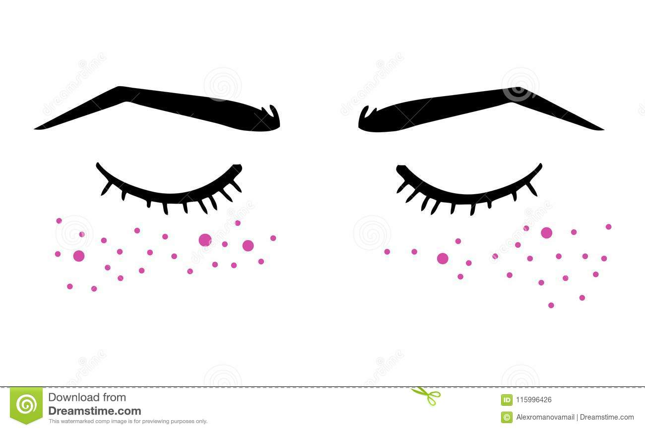 Vector Hand Drawn Ink Illustration With Closed Eyes And Eyebrows