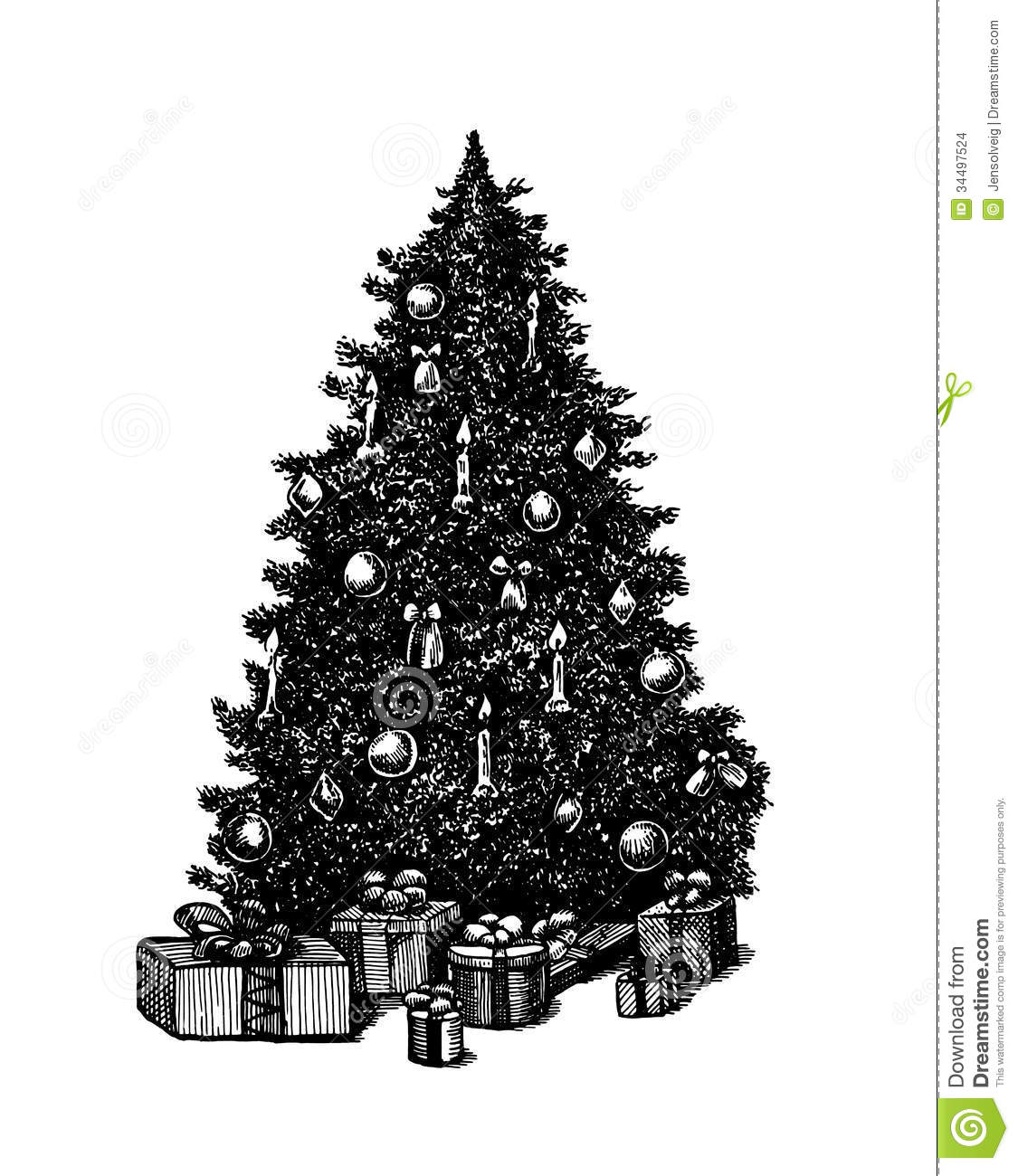 vector hand drawn ink pen christmas tree stock vector