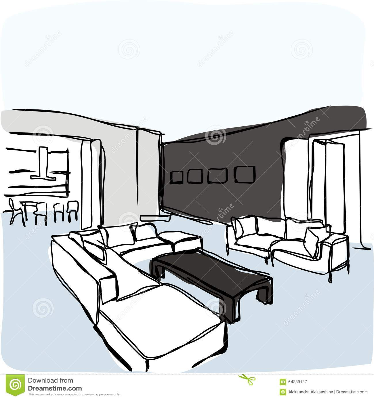 Vector Hand-drawn Interior Stock Vector. Illustration Of