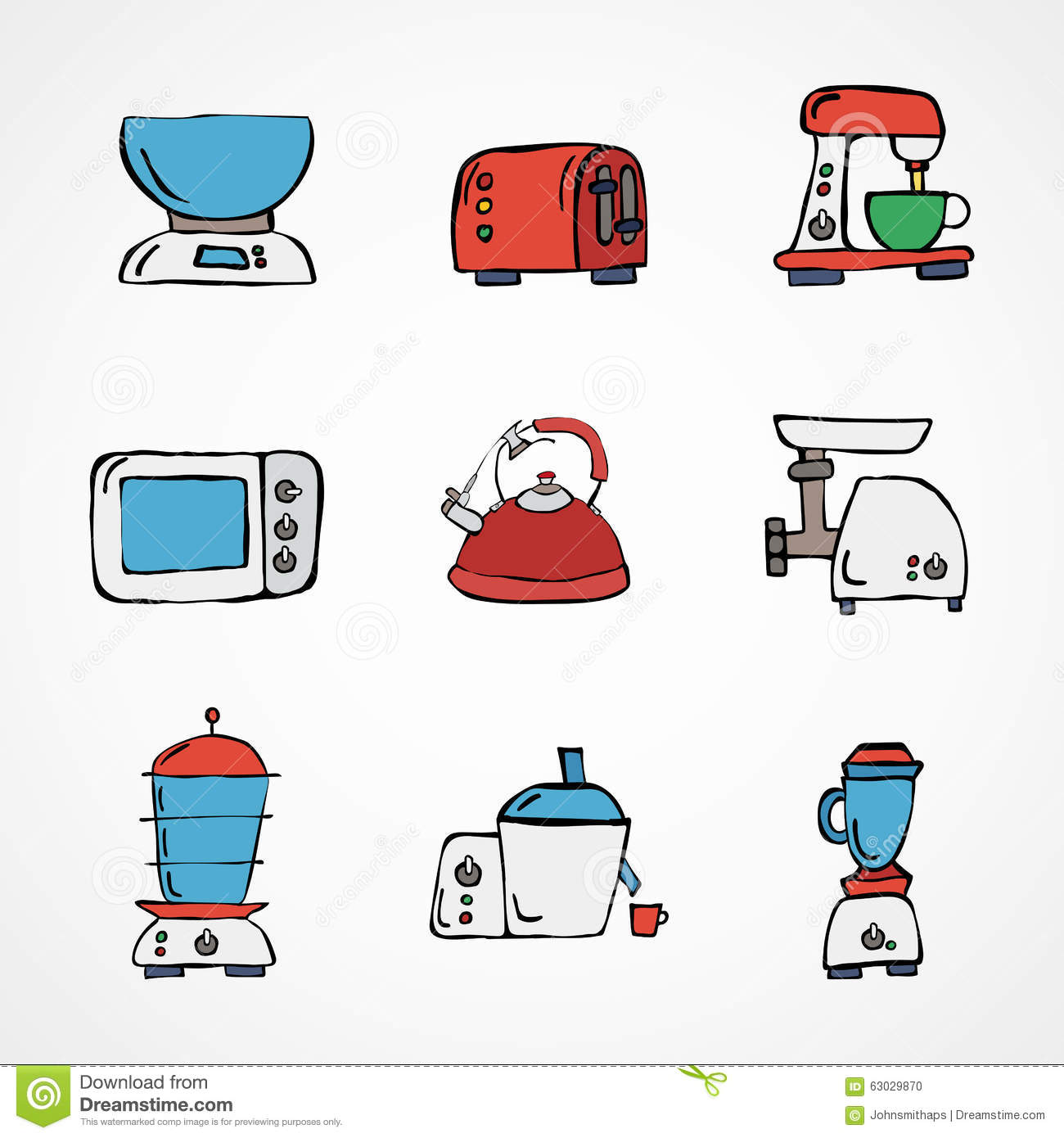 Vector hand drawn kitchen appliances set stock vector for Kitchen set vector