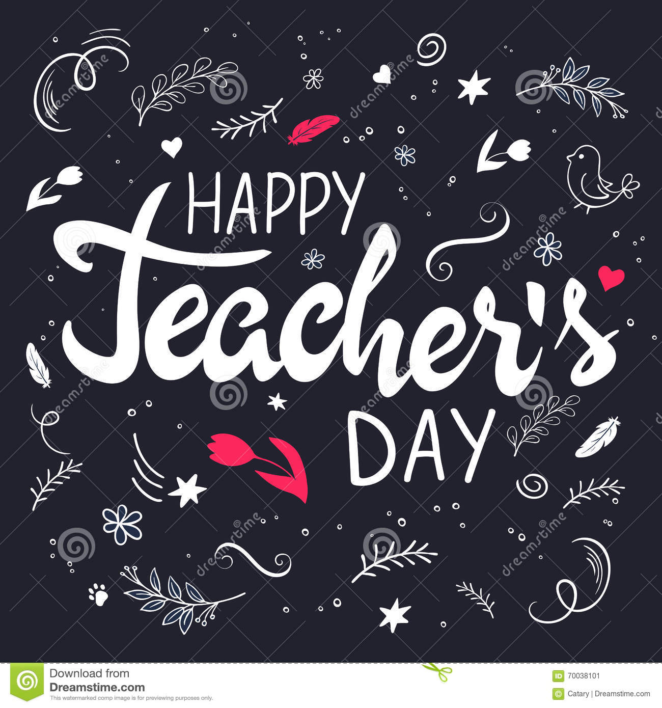 Vector Hand Drawn Lettering With Branches, Swirls, Flowers And Quote - Happy Teachers Day Stock ...