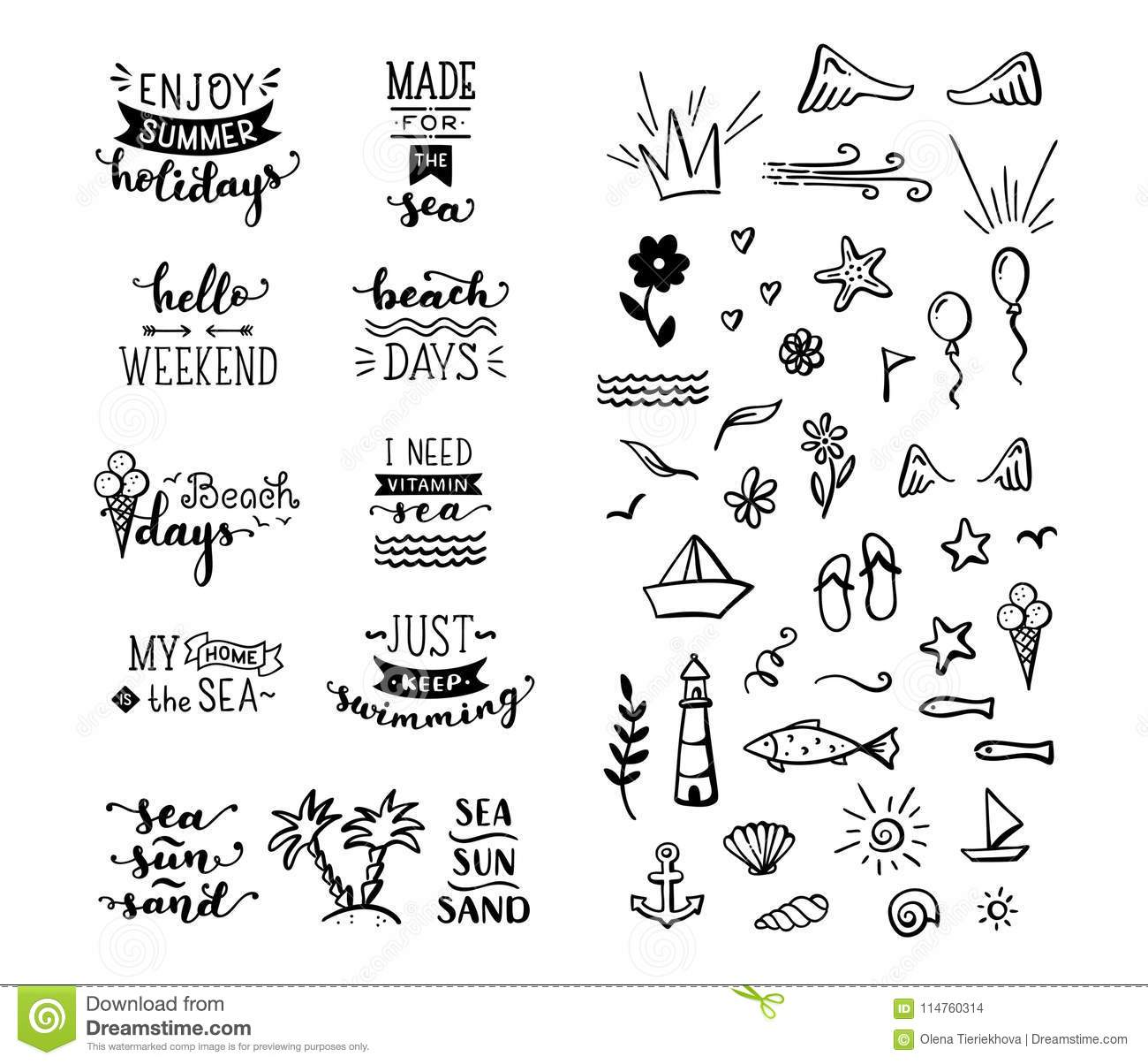 Vector Hand-drawn Lettering And Doodle Clipart On Sea ...