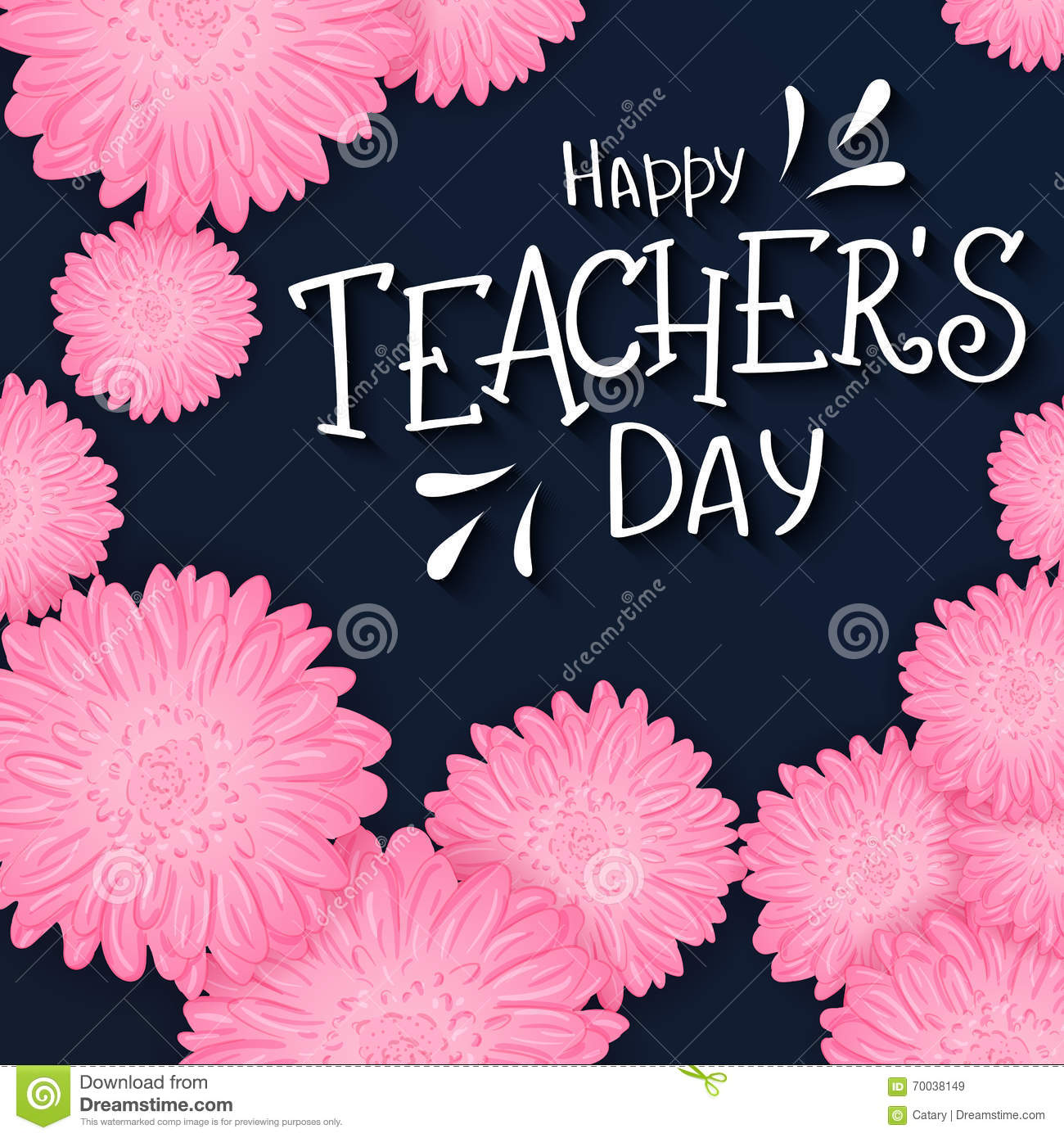 Vector Hand Drawn Lettering With Flowers And Quote Happy Teachers