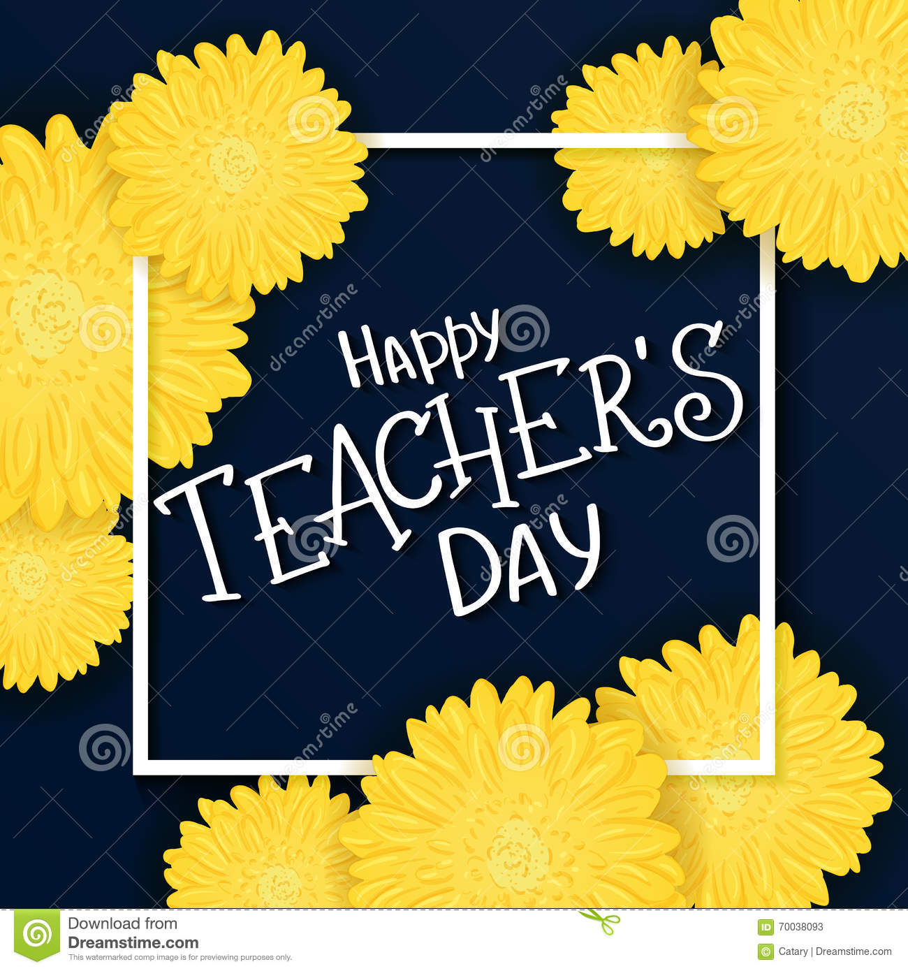 Happy teachers day greeting card vector illustration stock vector vector hand drawn lettering with flowers rectangle frame and quote happy teachers day kristyandbryce Choice Image