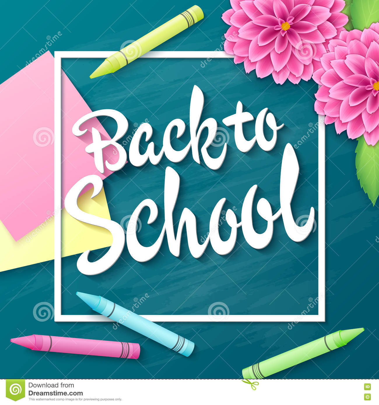 Vector Hand Drawn Lettering Greetings Label Back To School With