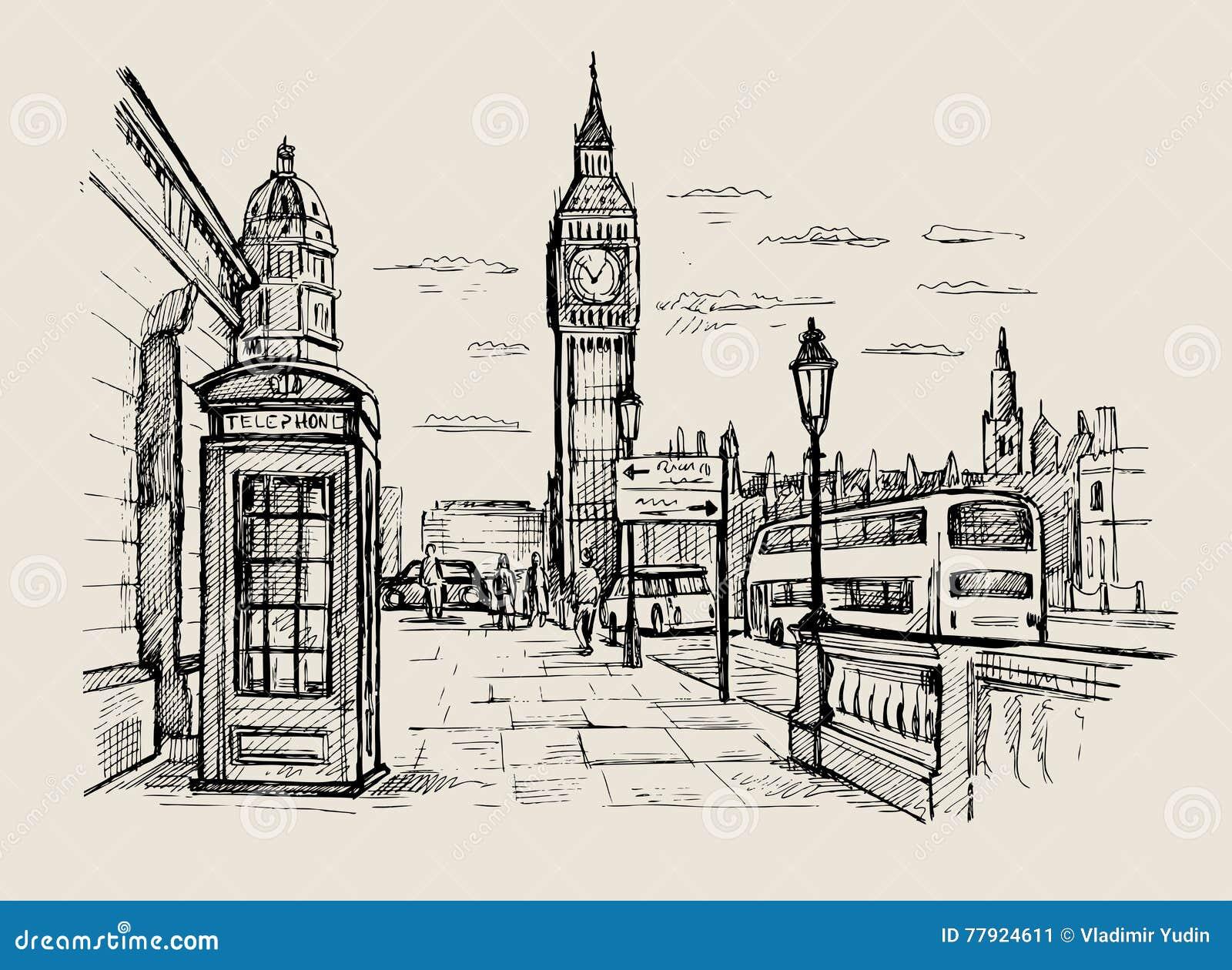 Line Drawing London : Vector hand drawn london stock illustration of