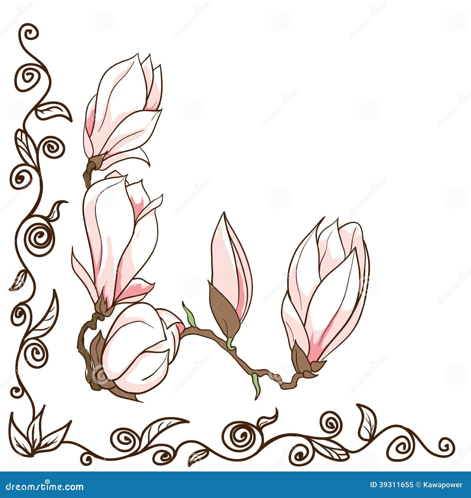 Vector Hand Drawn Magnolia Flowers Corner Frame Stock