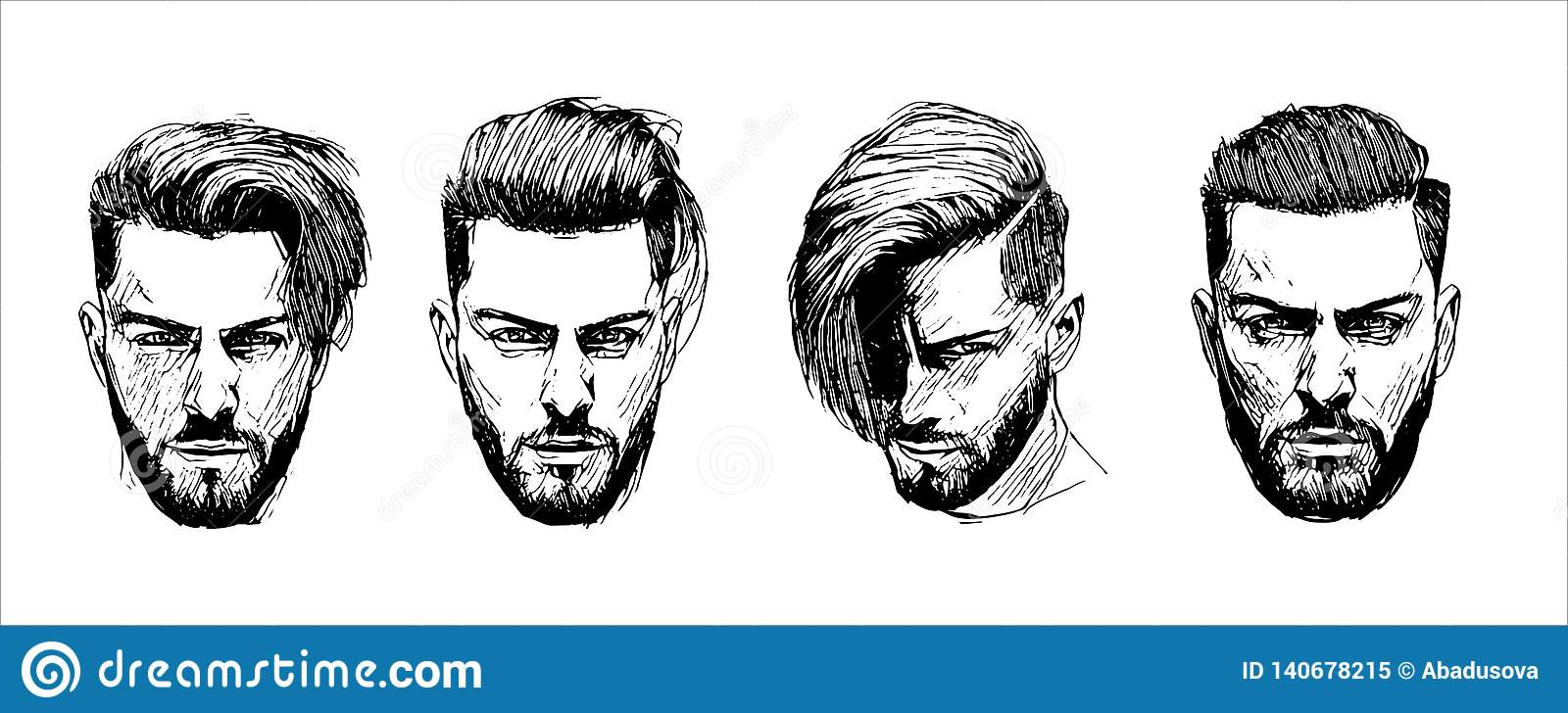 Vector hand drawn man hairstyle silhouettes illustration on white background
