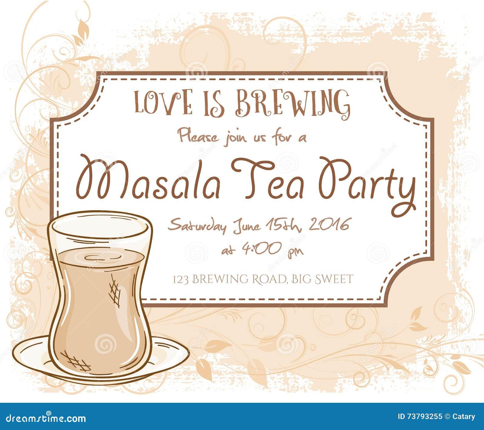 Vector Hand Drawn Masala Tea Party Invitation Card Vintage Frame