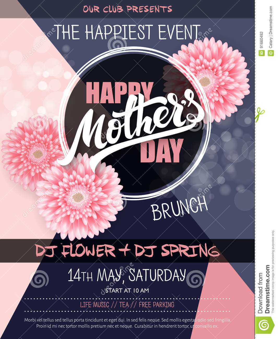 Vector Hand Drawn Mothers Day Event Poster With Blooming ...