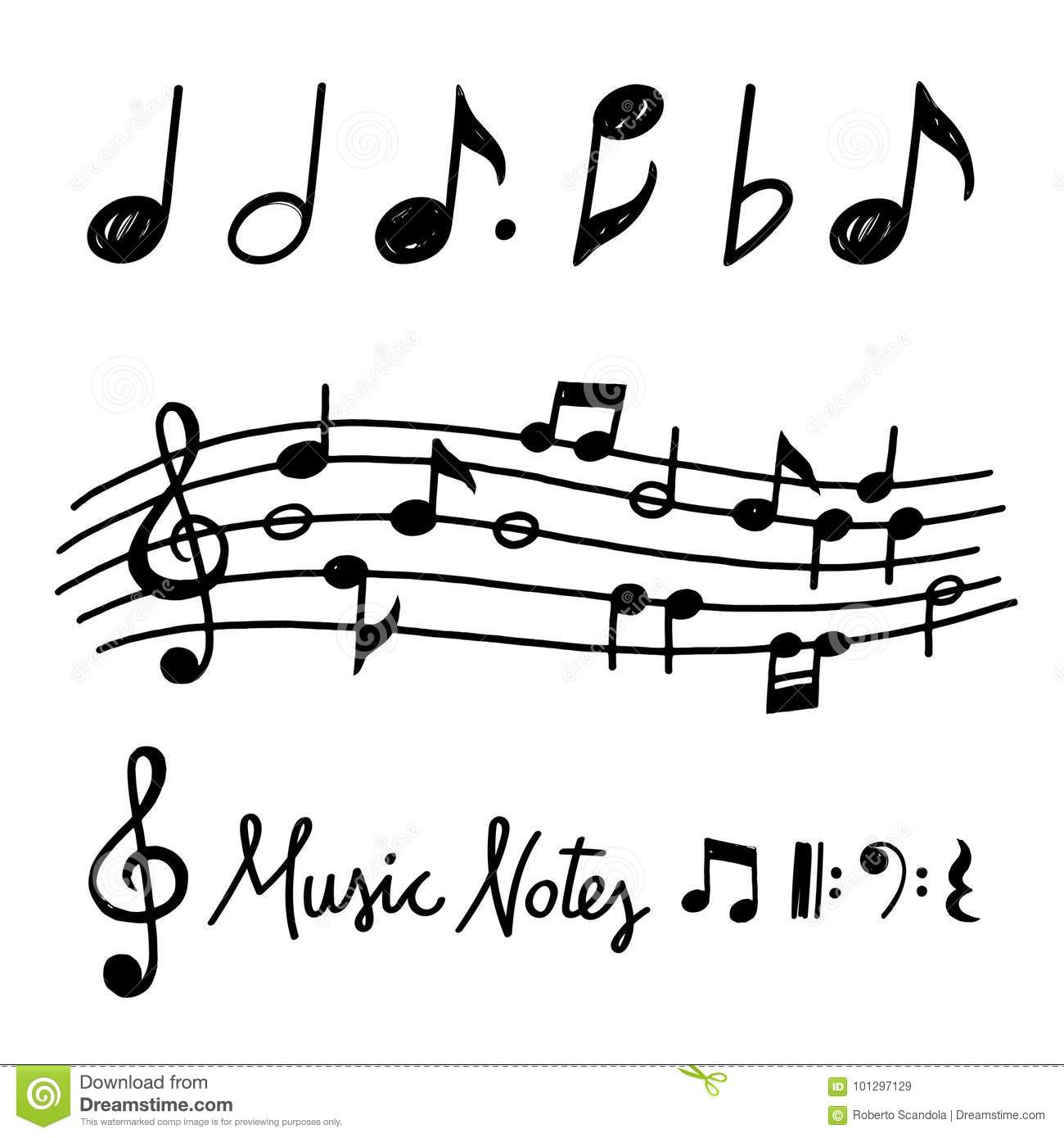 Vector Hand Drawn Music Notes Stock Vector Illustration Of Black