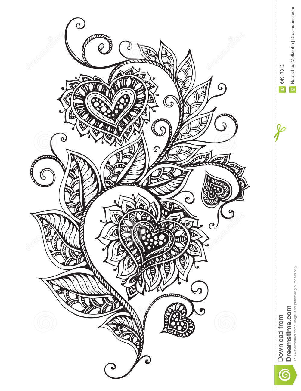 Vector Hand Drawn Ornate Floral Pattern Zentangle Style