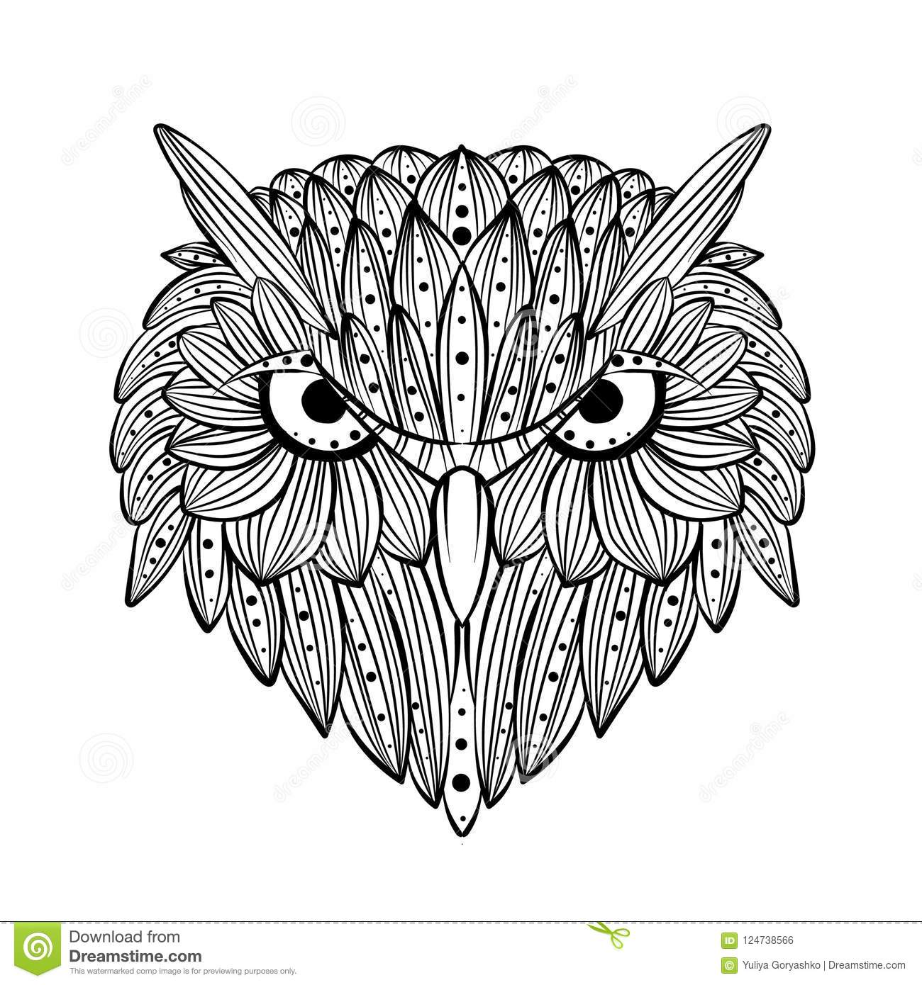 Vector Hand Drawn Owl Face Zentangle Art Ethnic Patterned