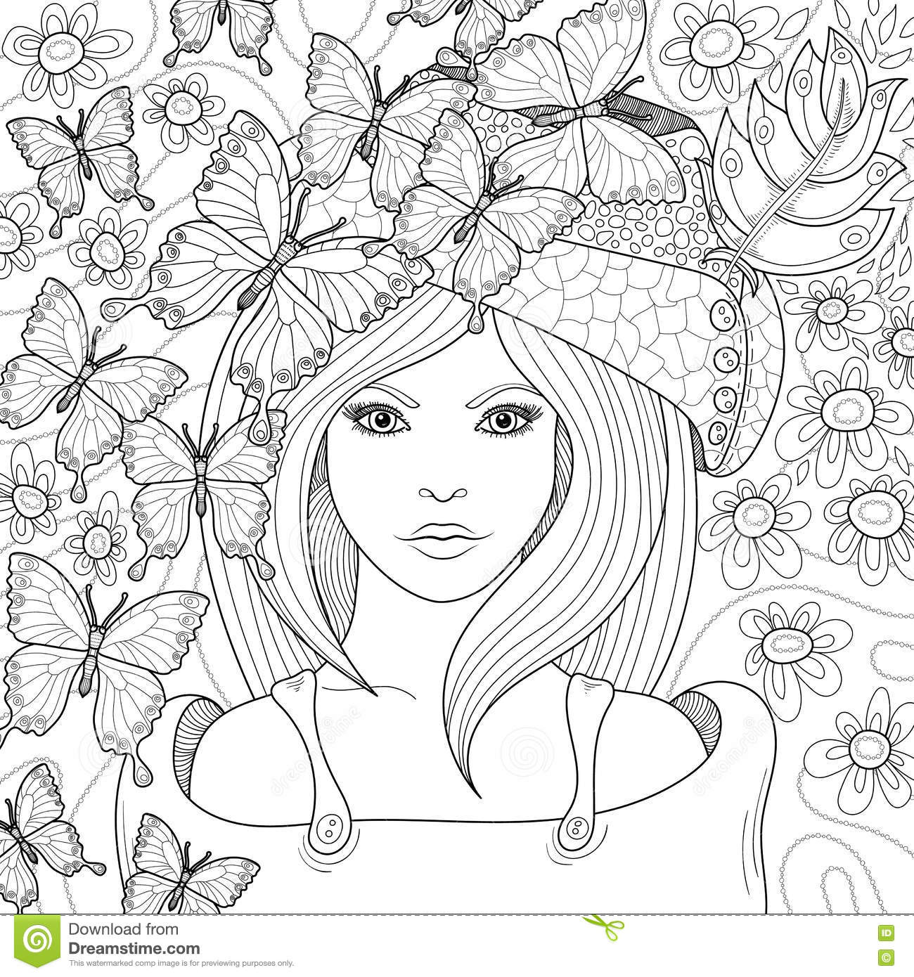 Vector Hand Drawn Pattern For Coloring Book Stock Vector