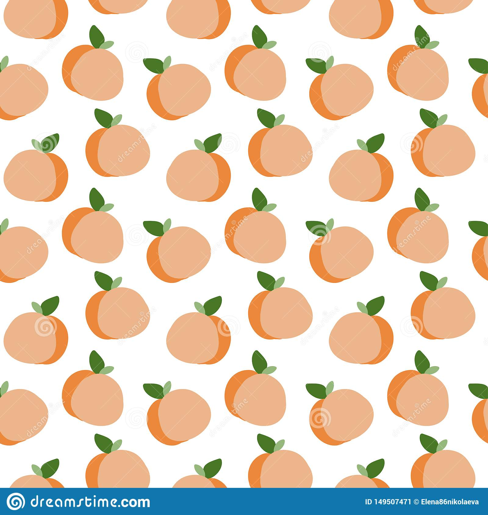 Hand Drawn Peach Vector Seamless Pattern Stock Vector