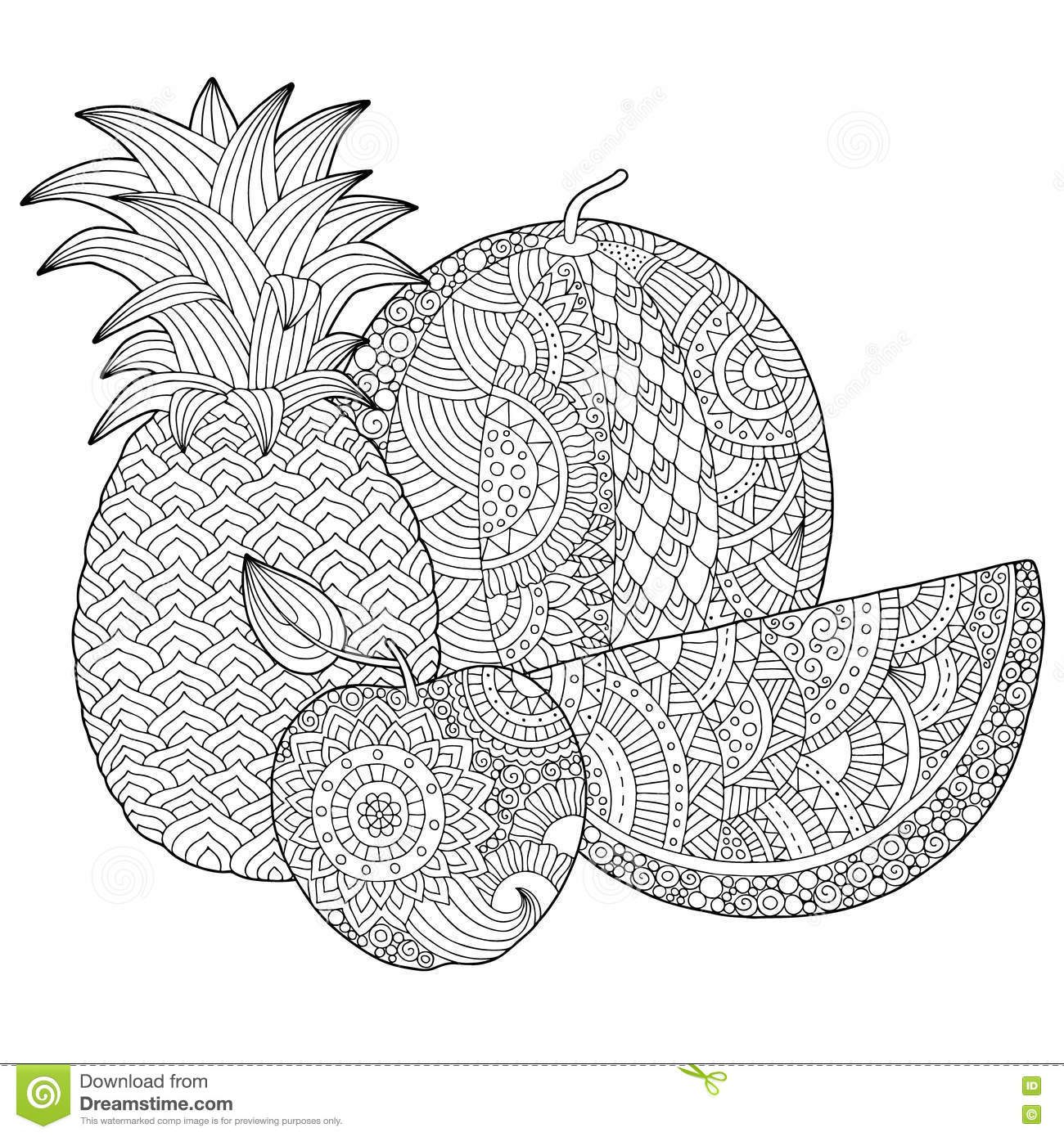 Vector Hand Drawn Pineapple, Watermelon, Apple